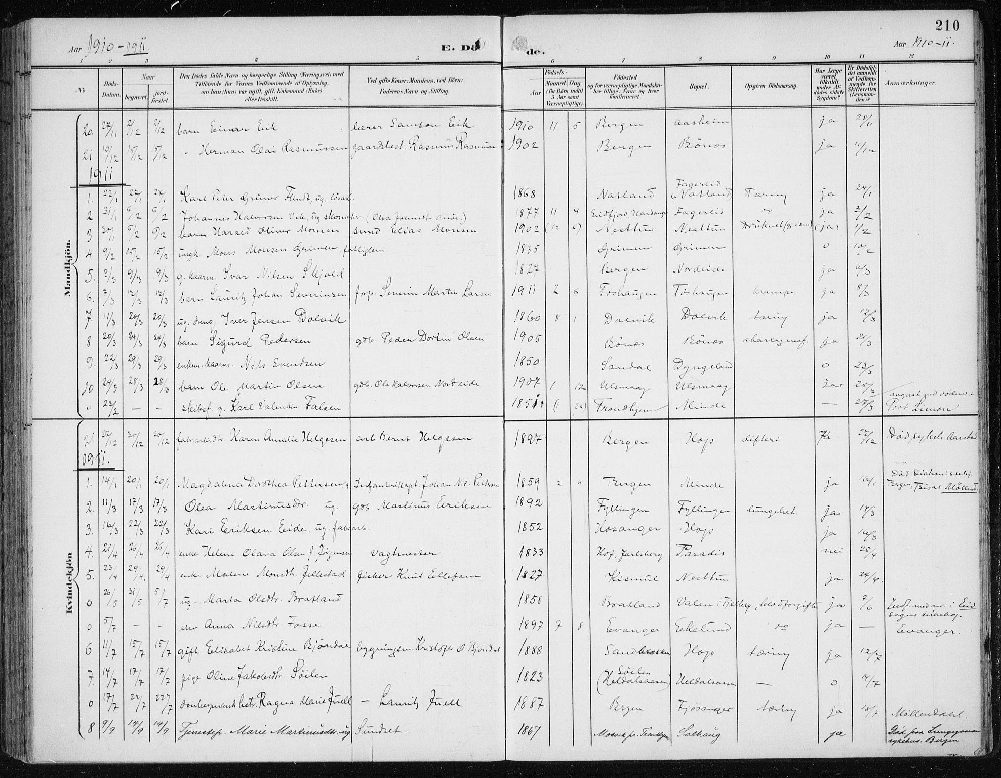 SAB, Fana Sokneprestembete, H/Haa/Haai/L0003: Ministerialbok nr. I 3, 1900-1912, s. 210
