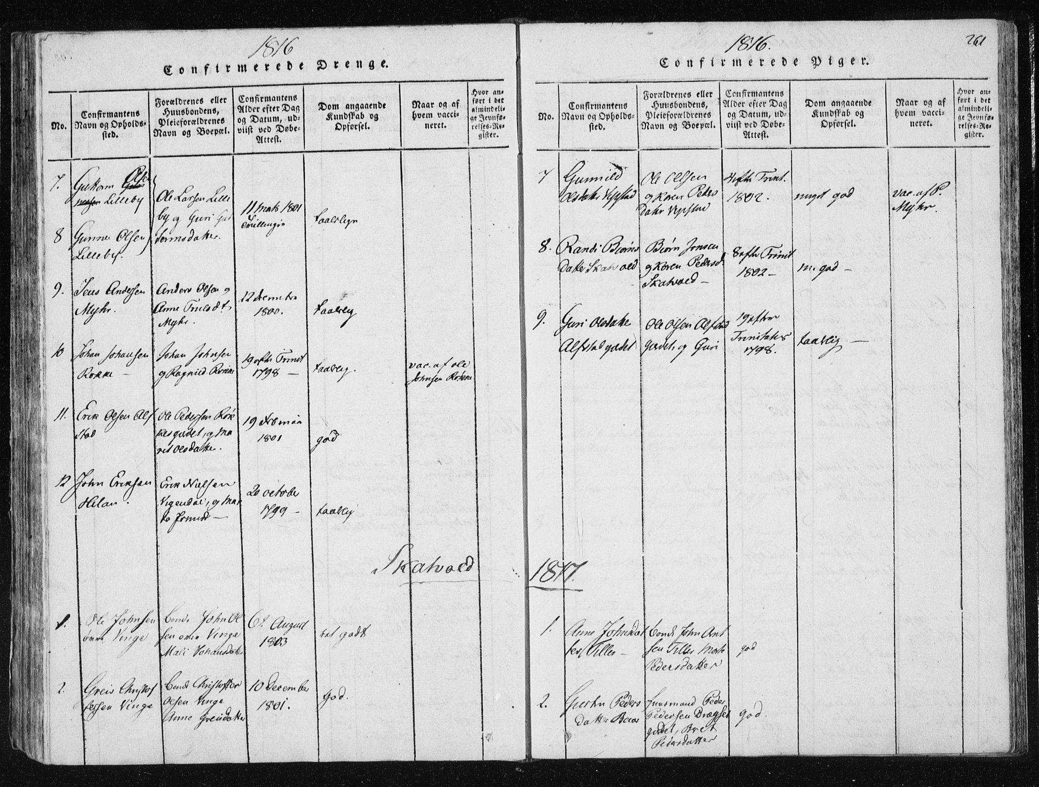 SAT, Ministerialprotokoller, klokkerbøker og fødselsregistre - Nord-Trøndelag, 709/L0061: Ministerialbok nr. 709A08 /2, 1815-1819, s. 261