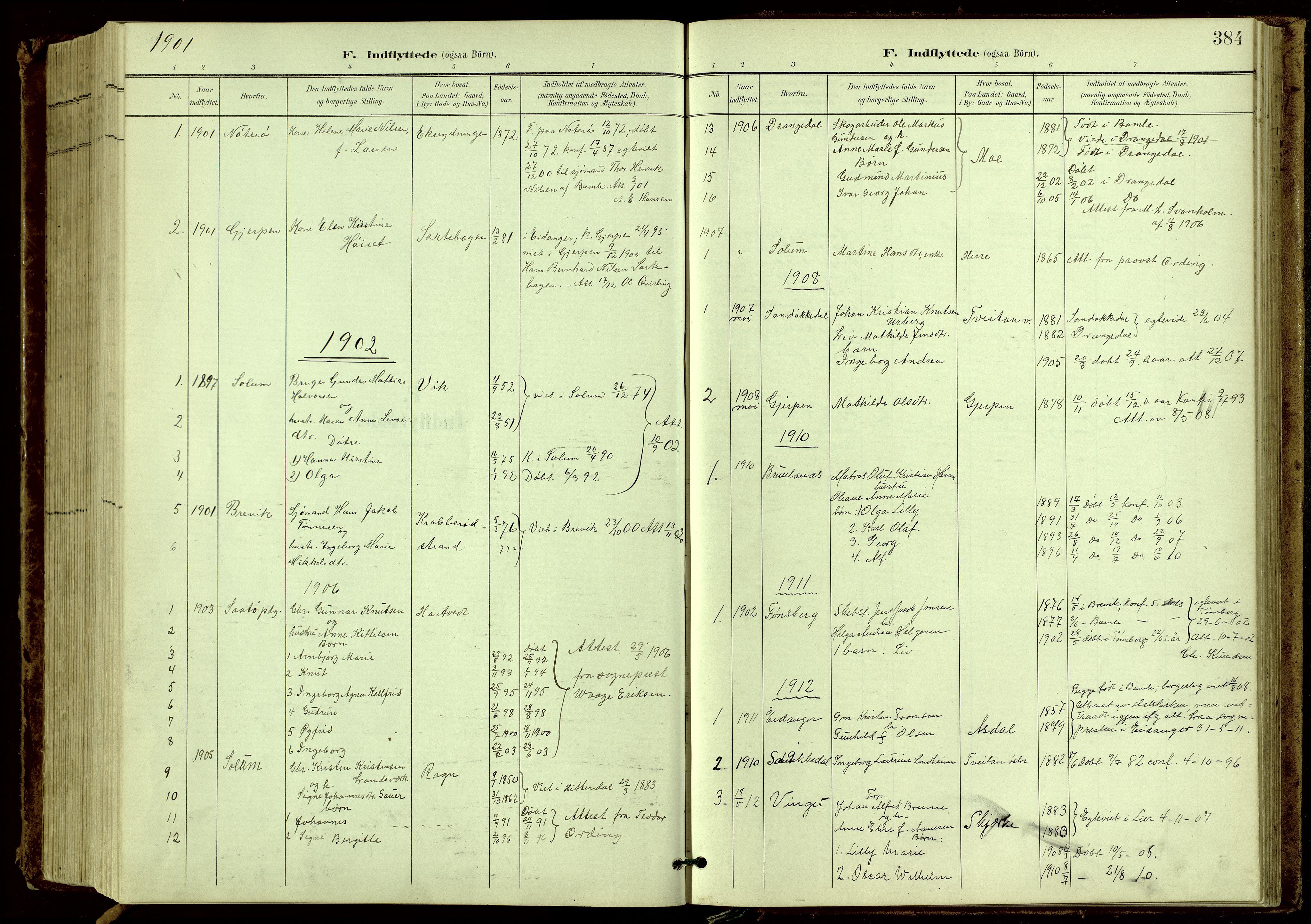 SAKO, Bamble kirkebøker, G/Ga/L0010: Klokkerbok nr. I 10, 1901-1919, s. 384