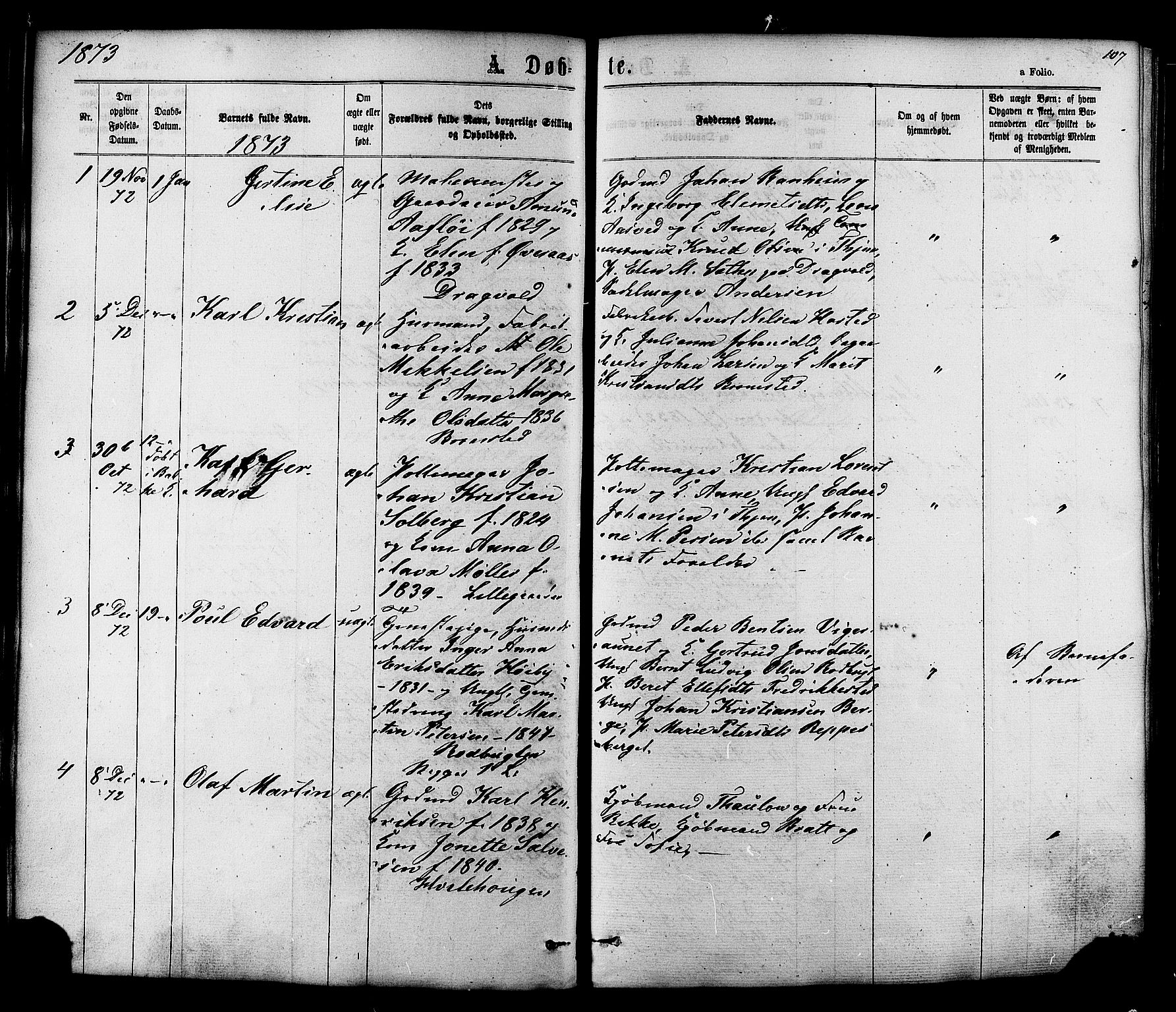 SAT, Ministerialprotokoller, klokkerbøker og fødselsregistre - Sør-Trøndelag, 606/L0293: Ministerialbok nr. 606A08, 1866-1877, s. 107