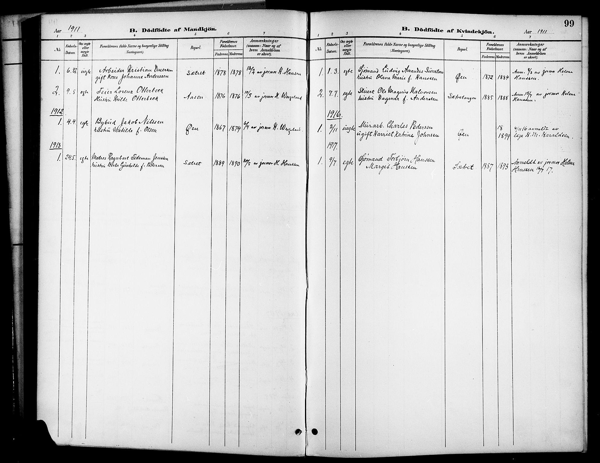 SAKO, Brevik kirkebøker, G/Ga/L0005: Klokkerbok nr. 5, 1901-1924, s. 99