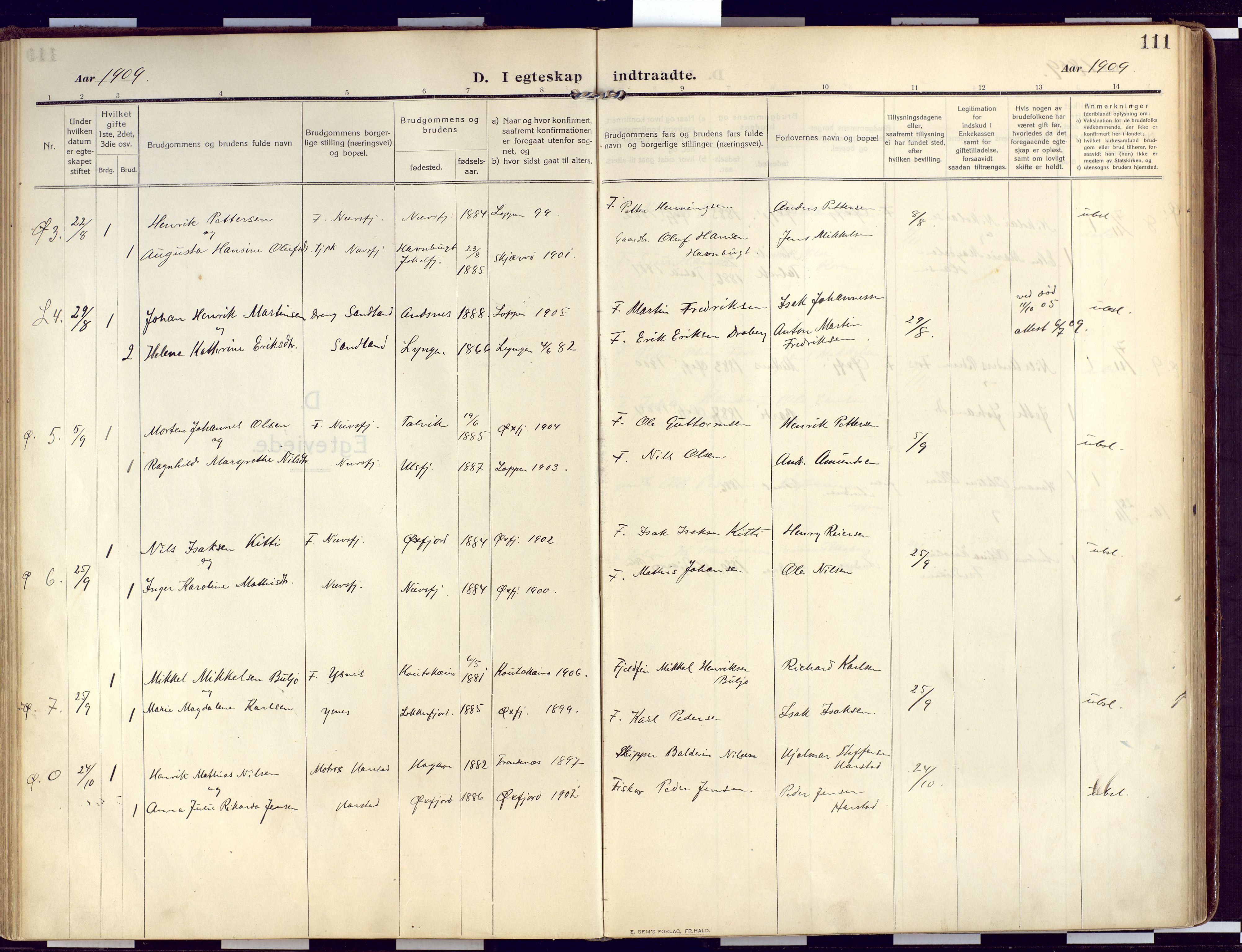 SATØ, Loppa sokneprestkontor, H/Ha/L0011kirke: Ministerialbok nr. 11, 1909-1919, s. 111