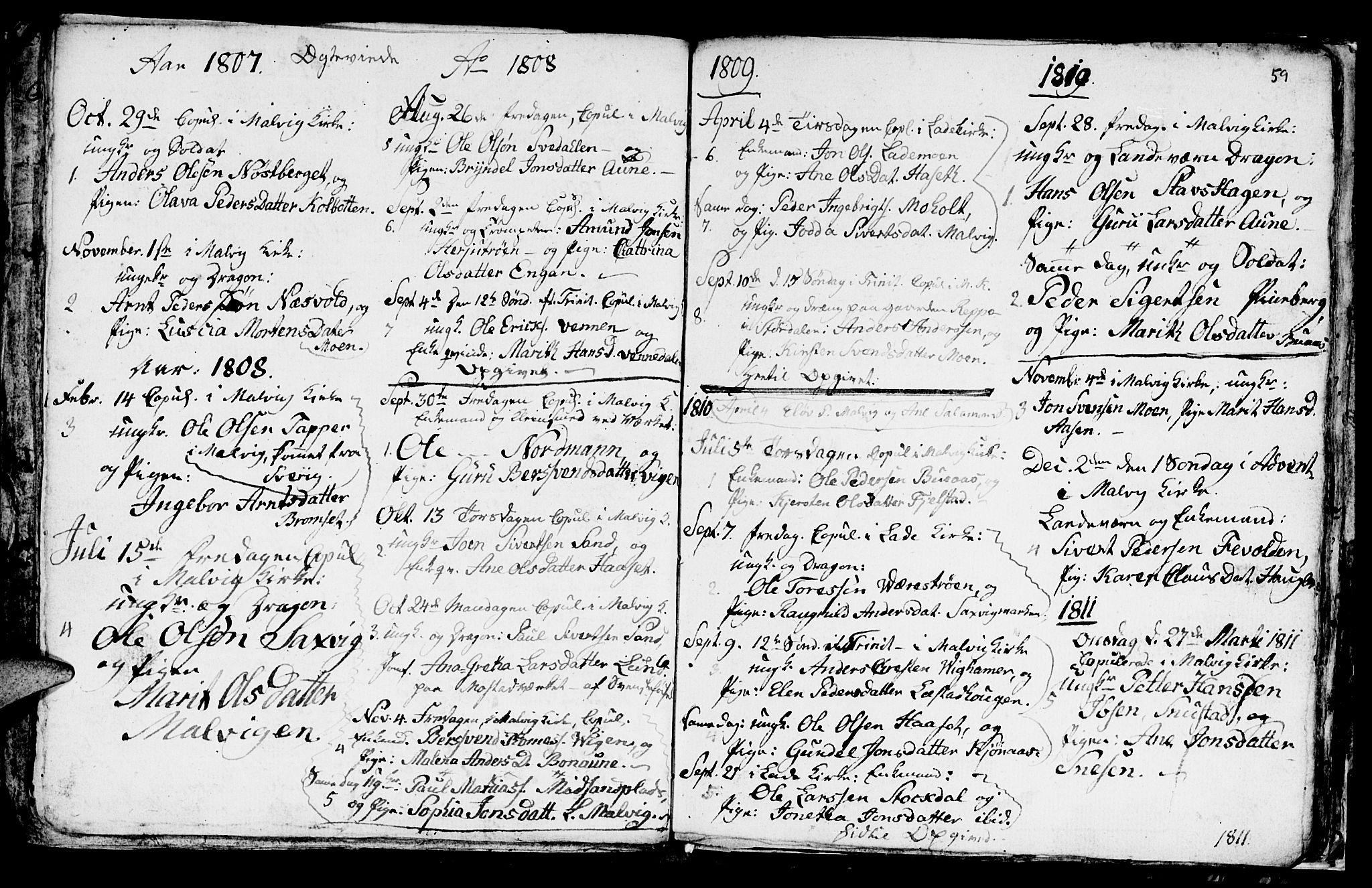 SAT, Ministerialprotokoller, klokkerbøker og fødselsregistre - Sør-Trøndelag, 616/L0419: Klokkerbok nr. 616C02, 1797-1816, s. 59