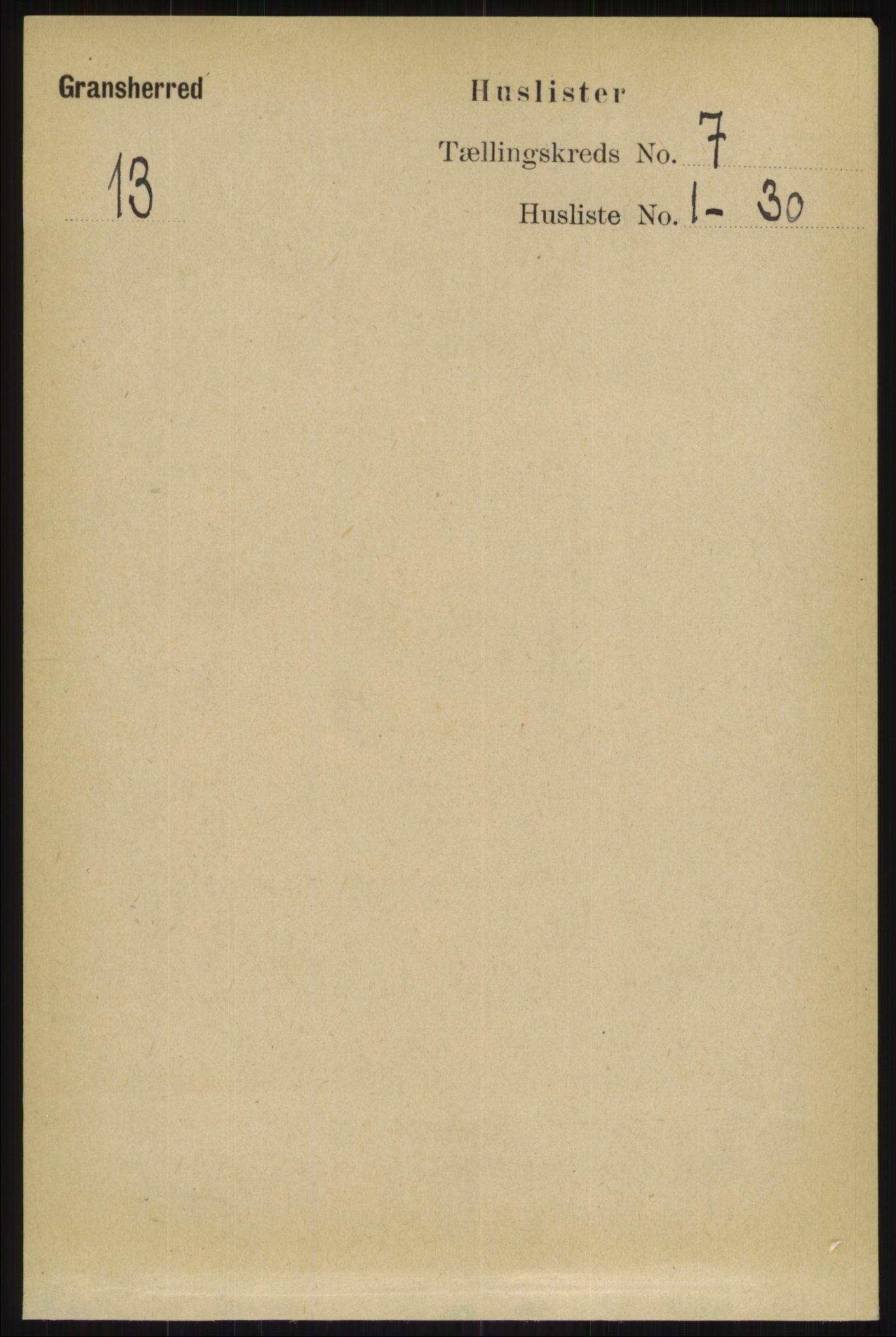 RA, Folketelling 1891 for 0824 Gransherad herred, 1891, s. 1157