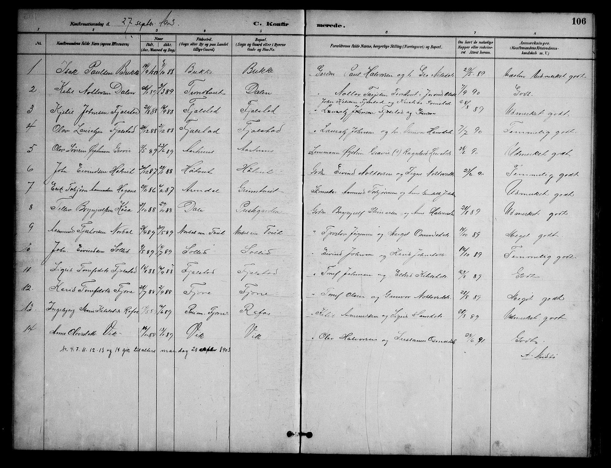SAKO, Nissedal kirkebøker, G/Ga/L0003: Klokkerbok nr. I 3, 1887-1911, s. 106