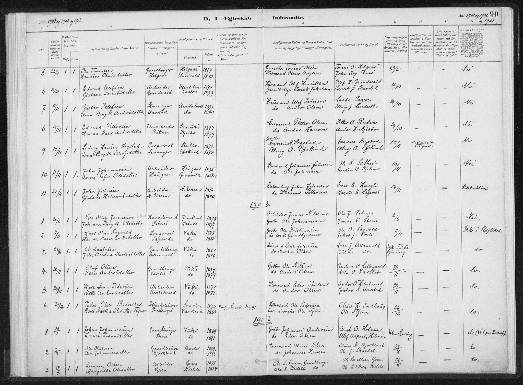 SAT, Ministerialprotokoller, klokkerbøker og fødselsregistre - Nord-Trøndelag, 724/L0263: Ministerialbok nr. 724A01, 1891-1907, s. 90