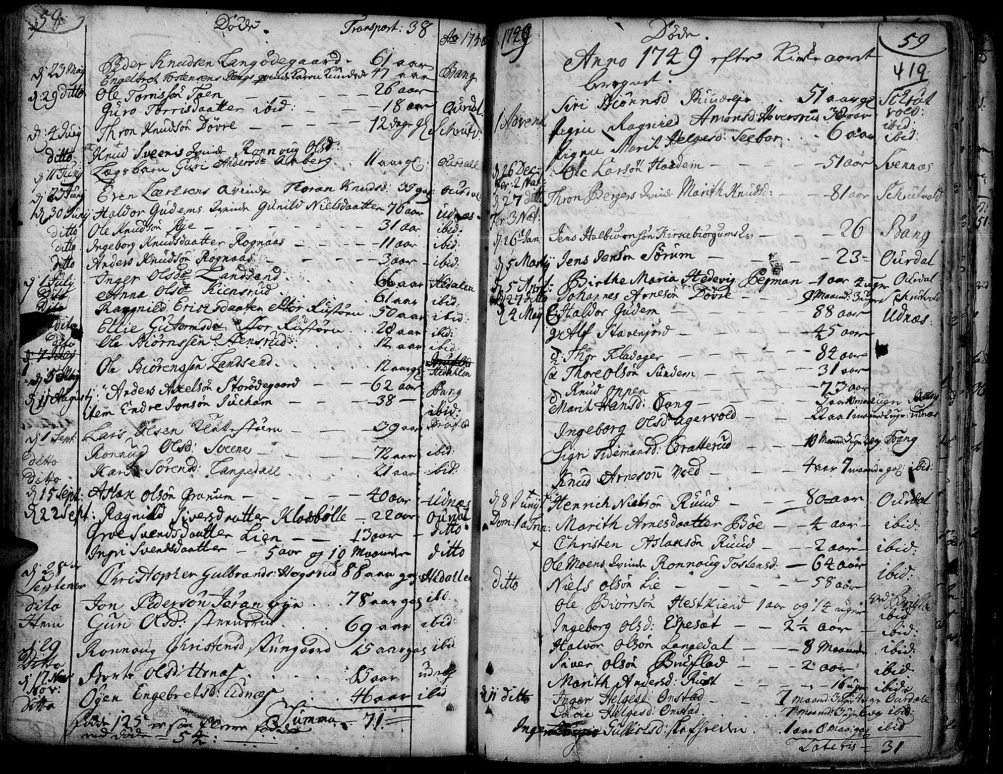 SAH, Aurdal prestekontor, Ministerialbok nr. 4, 1730-1762, s. 58-59