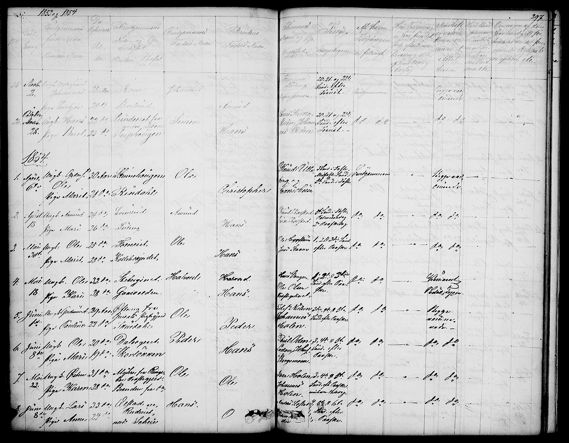 SAH, Sør-Fron prestekontor, H/Ha/Hab/L0001: Klokkerbok nr. 1, 1844-1863, s. 297