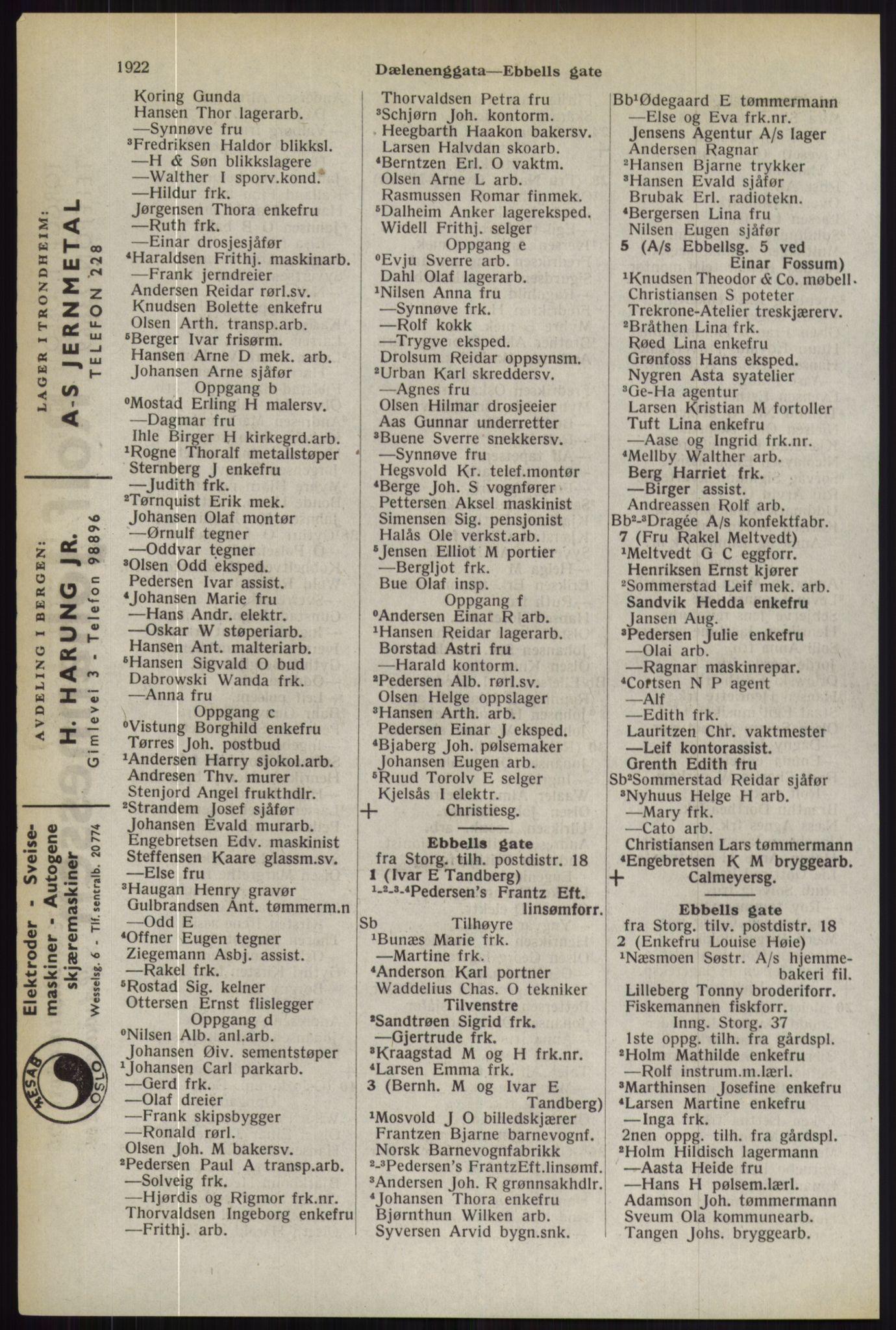 RA, Oslo adressebok (publikasjon)*, 1944, s. 1922