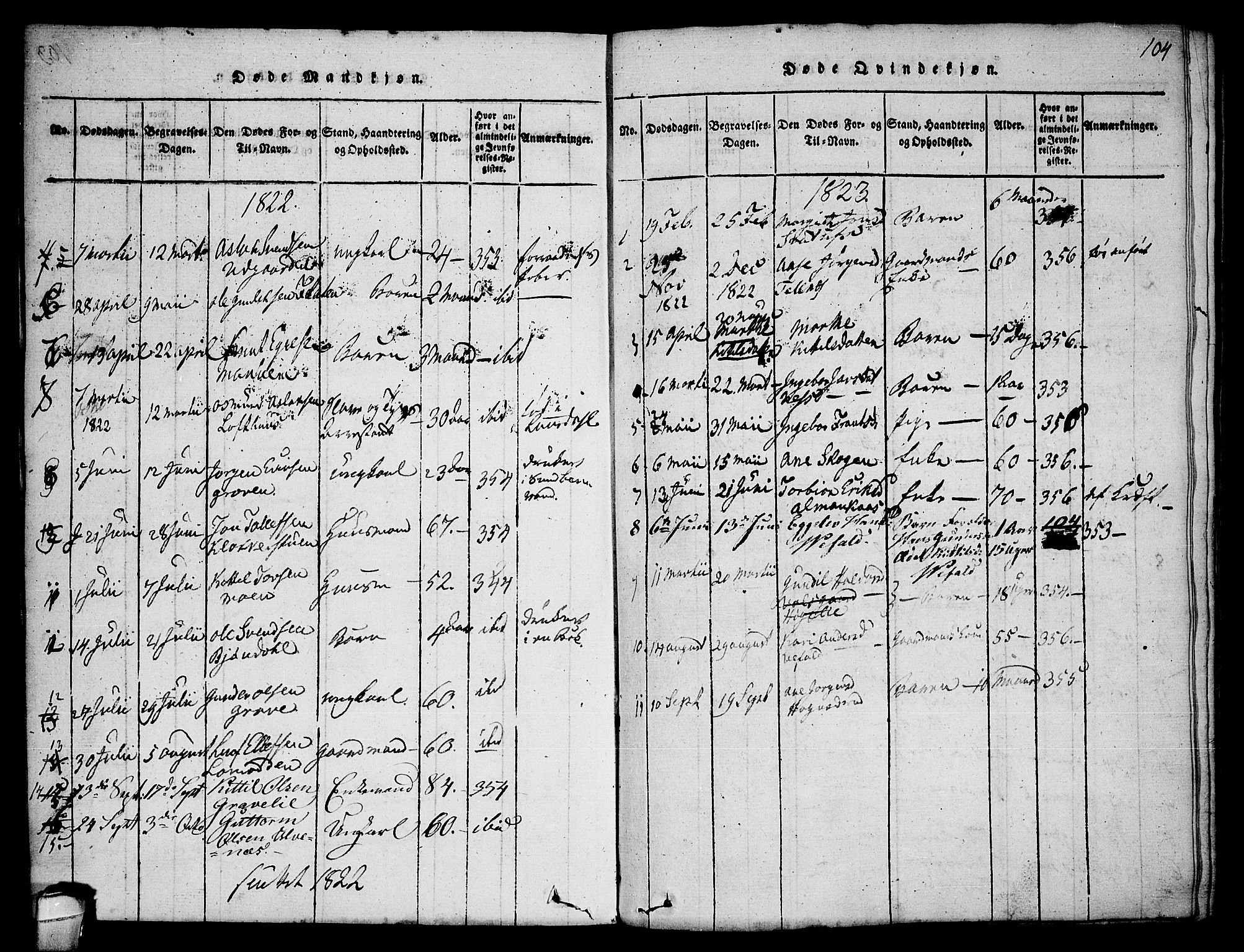 SAKO, Seljord kirkebøker, F/Fa/L0010: Ministerialbok nr. I 10, 1815-1831, s. 104