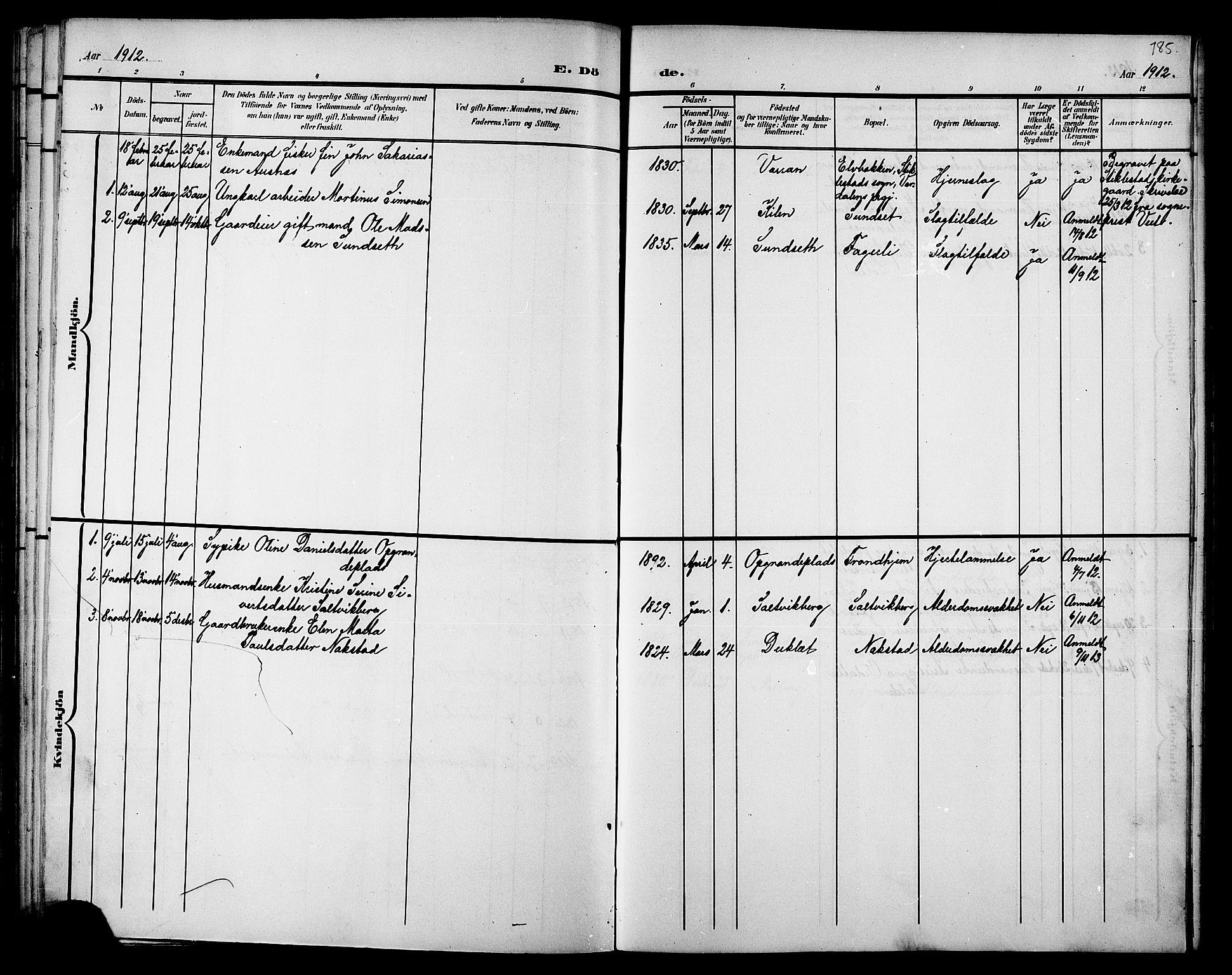 SAT, Ministerialprotokoller, klokkerbøker og fødselsregistre - Nord-Trøndelag, 733/L0327: Klokkerbok nr. 733C02, 1888-1918, s. 185