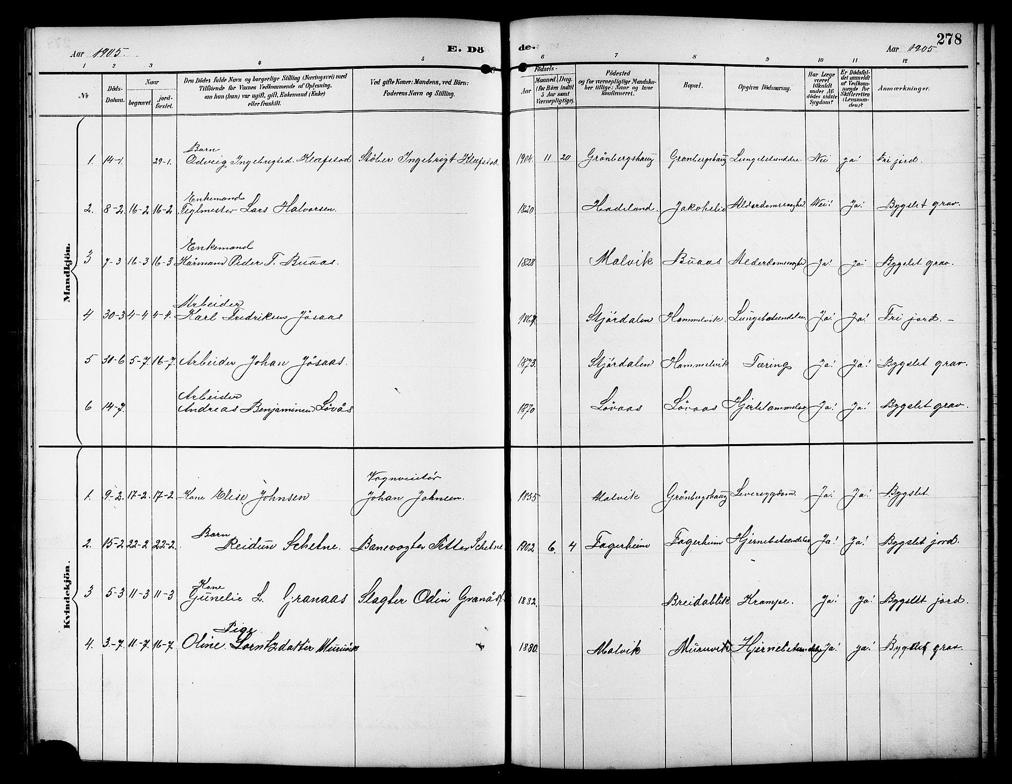 SAT, Ministerialprotokoller, klokkerbøker og fødselsregistre - Sør-Trøndelag, 617/L0431: Klokkerbok nr. 617C01, 1889-1910, s. 278