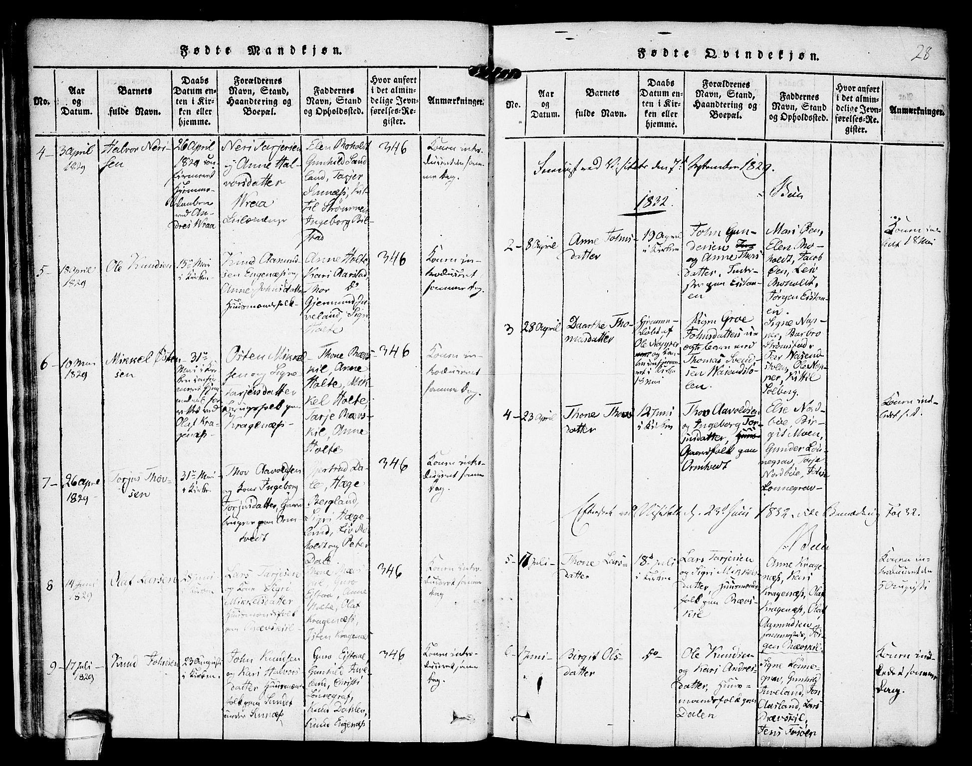 SAKO, Kviteseid kirkebøker, F/Fc/L0001: Ministerialbok nr. III 1, 1815-1836, s. 28