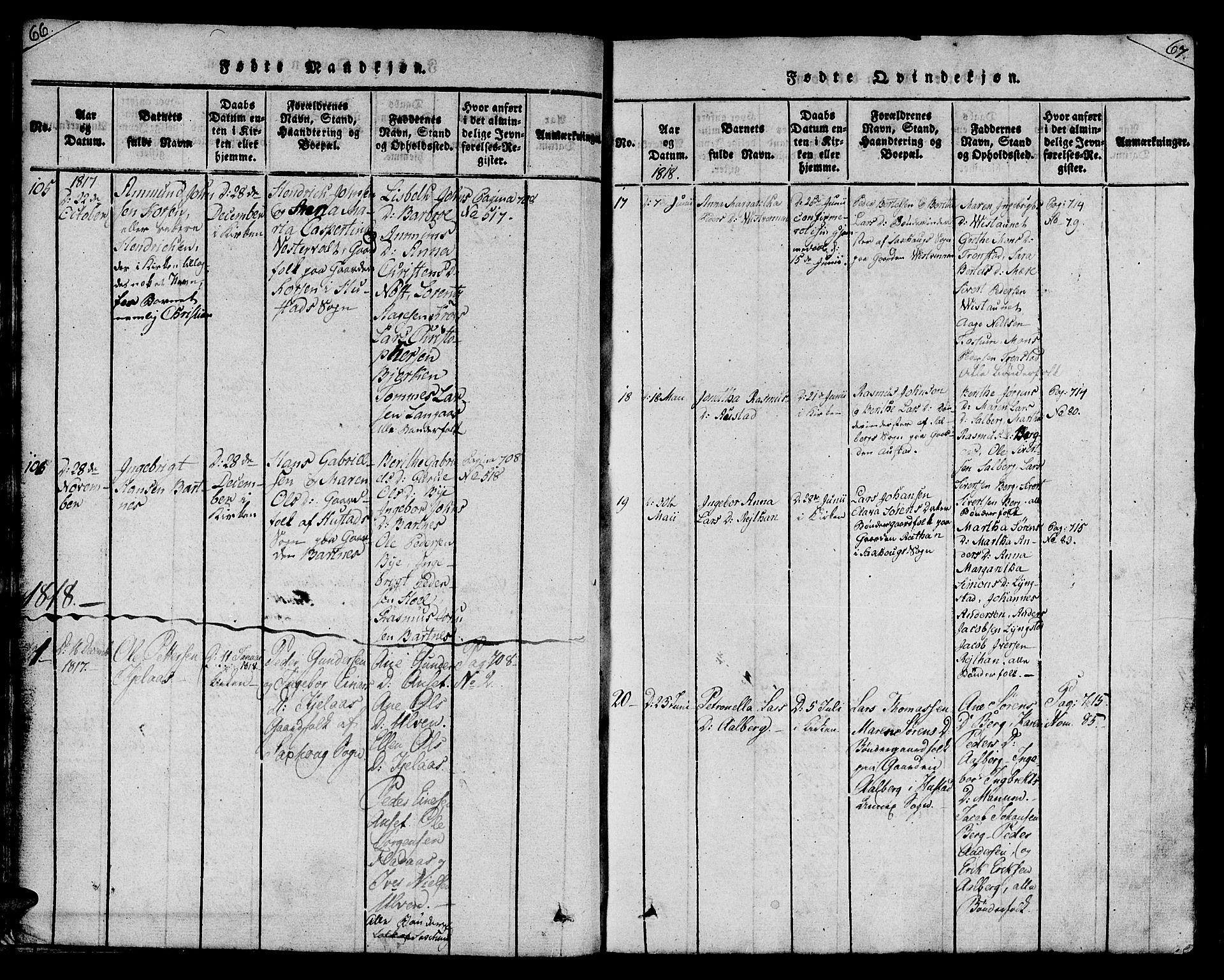 SAT, Ministerialprotokoller, klokkerbøker og fødselsregistre - Nord-Trøndelag, 730/L0275: Ministerialbok nr. 730A04, 1816-1822, s. 66-67