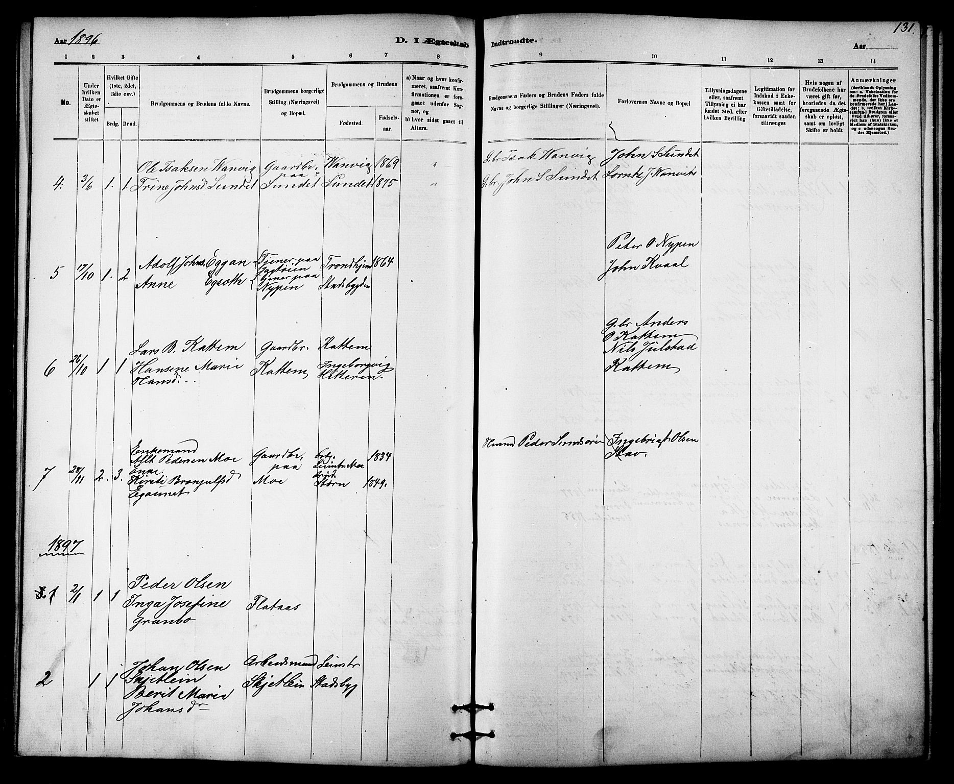 SAT, Ministerialprotokoller, klokkerbøker og fødselsregistre - Sør-Trøndelag, 613/L0395: Klokkerbok nr. 613C03, 1887-1909, s. 131