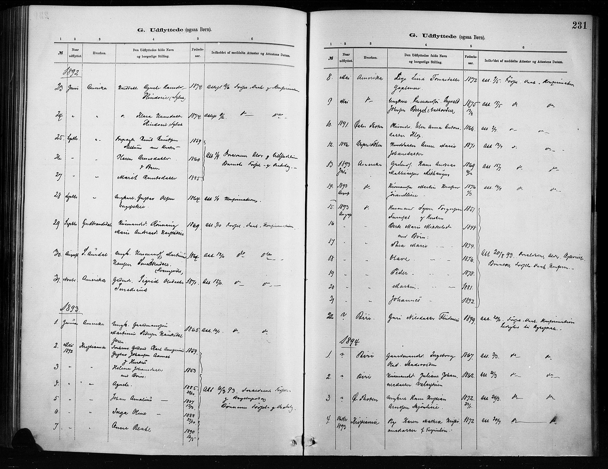 SAH, Nordre Land prestekontor, Ministerialbok nr. 4, 1882-1896, s. 231