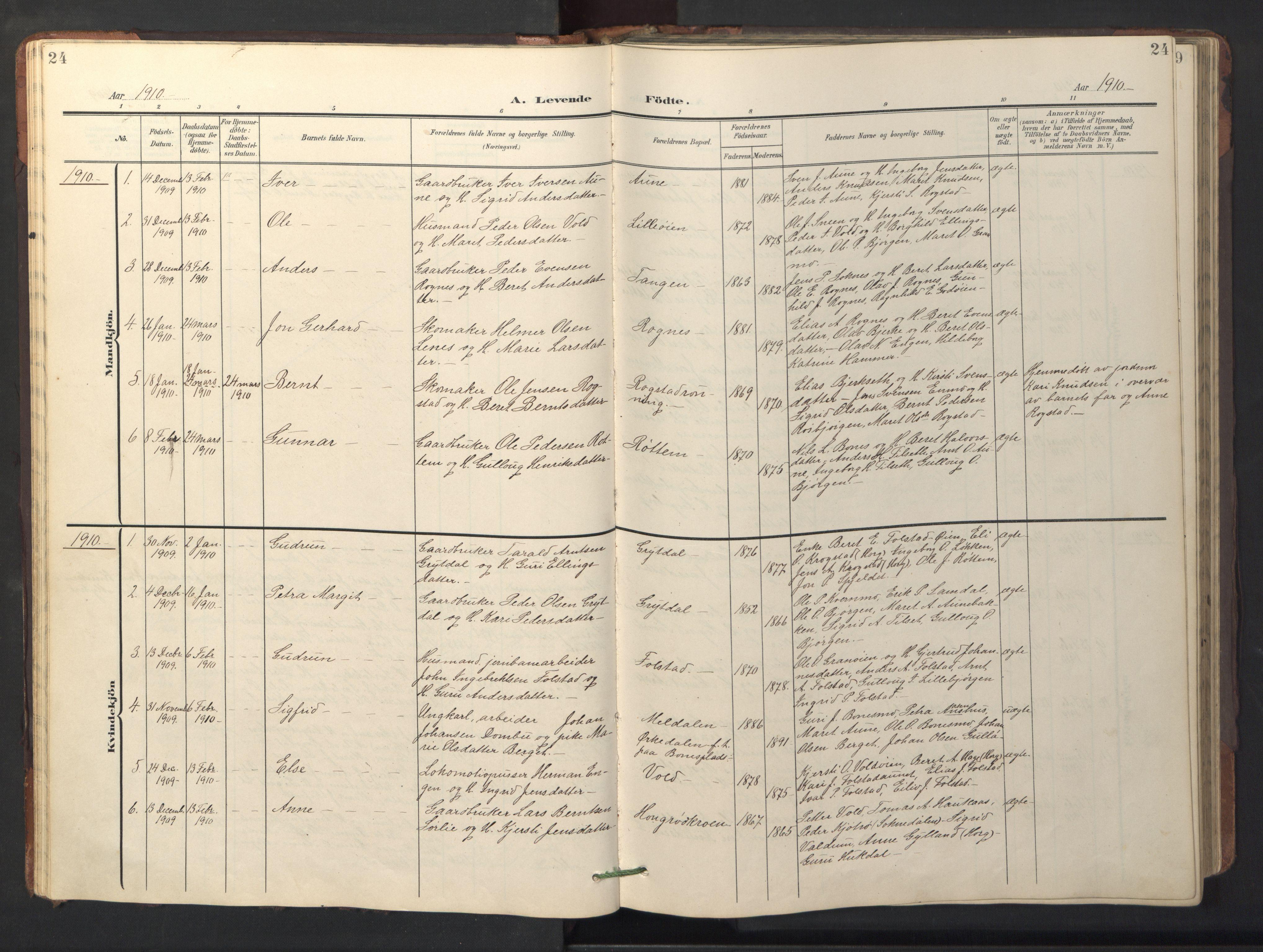 SAT, Ministerialprotokoller, klokkerbøker og fødselsregistre - Sør-Trøndelag, 687/L1019: Klokkerbok nr. 687C03, 1904-1931, s. 24