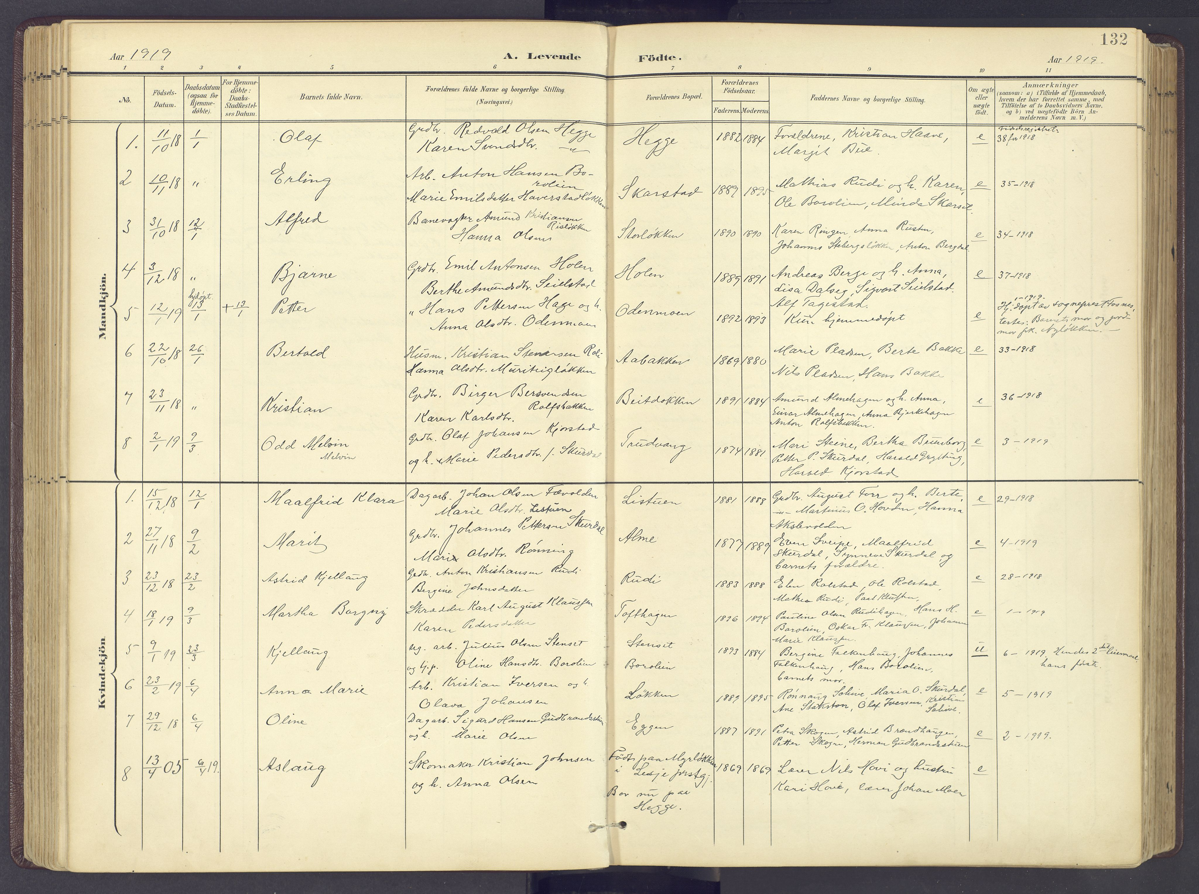 SAH, Sør-Fron prestekontor, H/Ha/Haa/L0004: Ministerialbok nr. 4, 1898-1919, s. 132