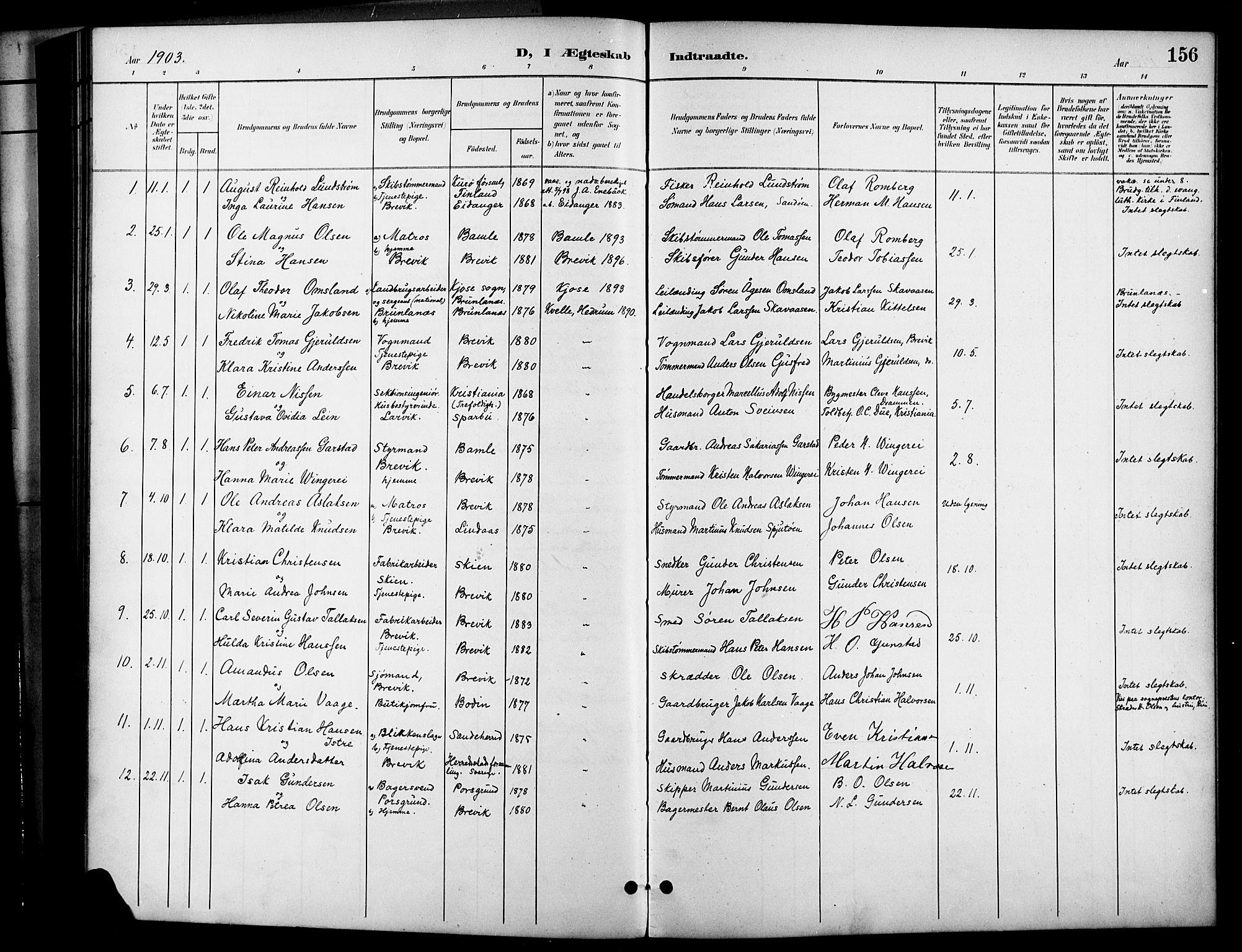 SAKO, Brevik kirkebøker, G/Ga/L0005: Klokkerbok nr. 5, 1901-1924, s. 156