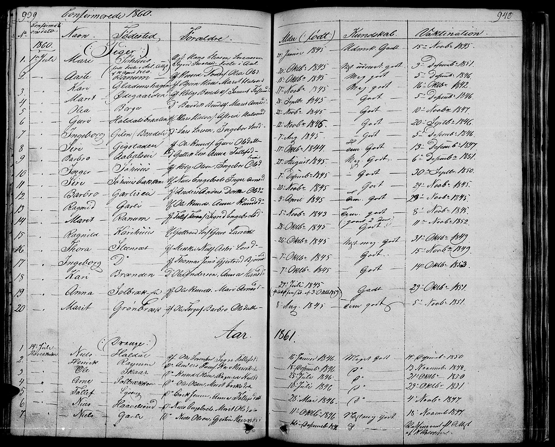 SAH, Nord-Aurdal prestekontor, Klokkerbok nr. 1, 1834-1887, s. 939-940