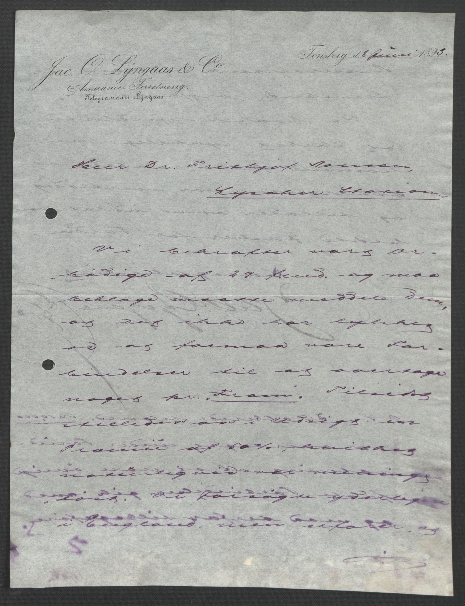 RA, Arbeidskomitéen for Fridtjof Nansens polarekspedisjon, D/L0003: Innk. brev og telegrammer vedr. proviant og utrustning, 1893, s. 247
