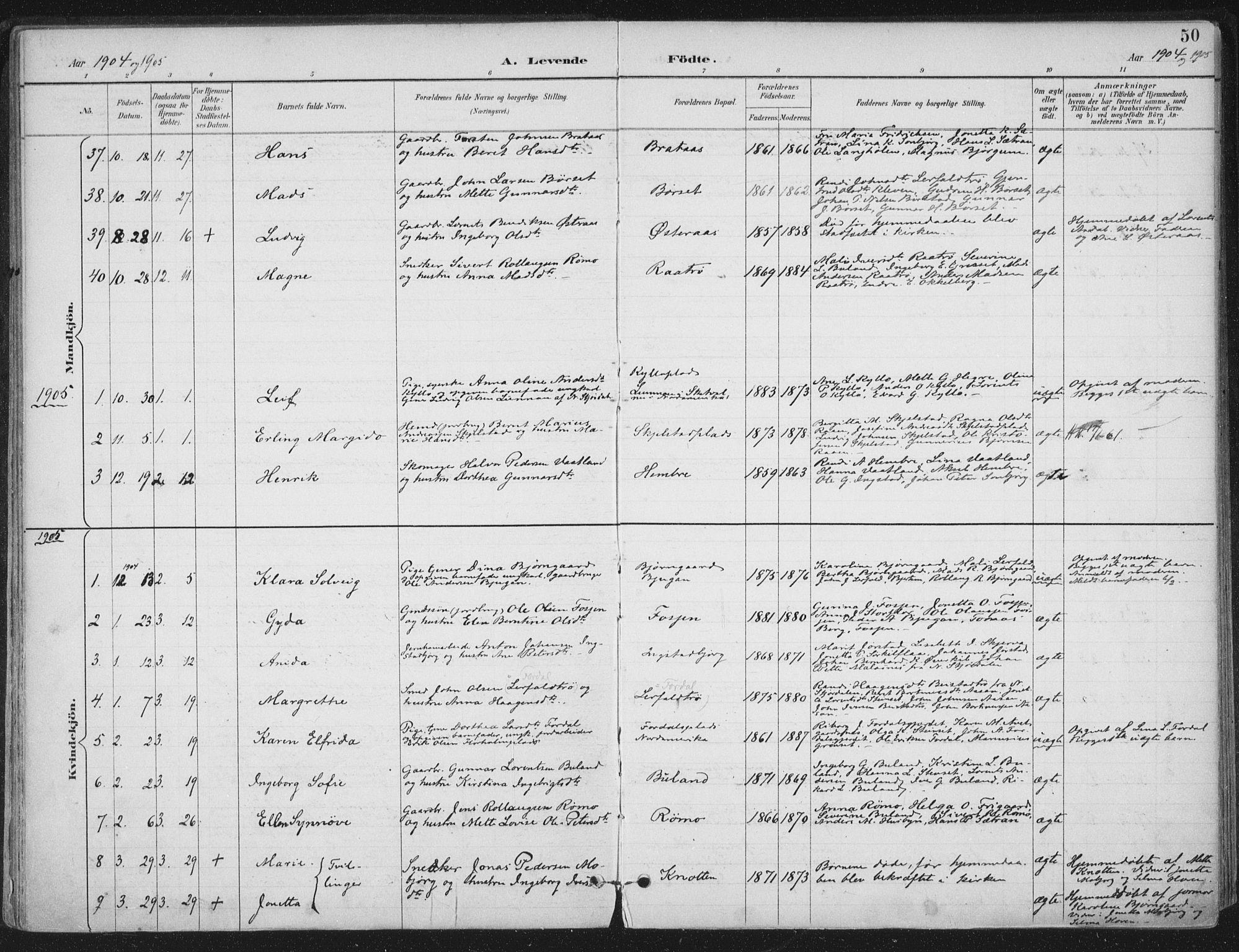 SAT, Ministerialprotokoller, klokkerbøker og fødselsregistre - Nord-Trøndelag, 703/L0031: Ministerialbok nr. 703A04, 1893-1914, s. 50
