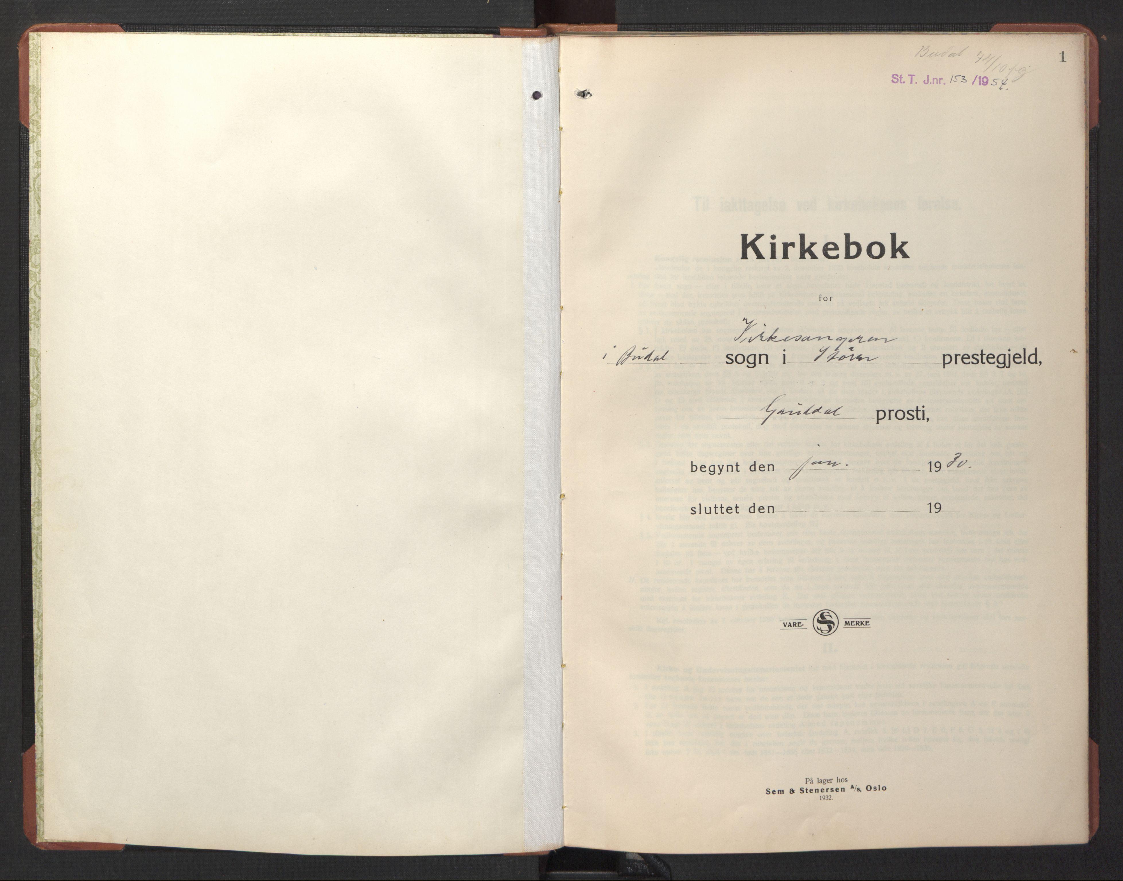 SAT, Ministerialprotokoller, klokkerbøker og fødselsregistre - Sør-Trøndelag, 690/L1053: Klokkerbok nr. 690C03, 1930-1947, s. 1