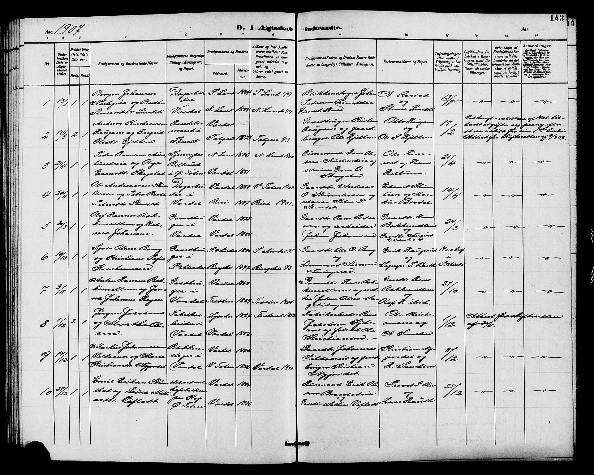 SAH, Vardal prestekontor, H/Ha/Hab/L0011: Klokkerbok nr. 11, 1899-1913, s. 143