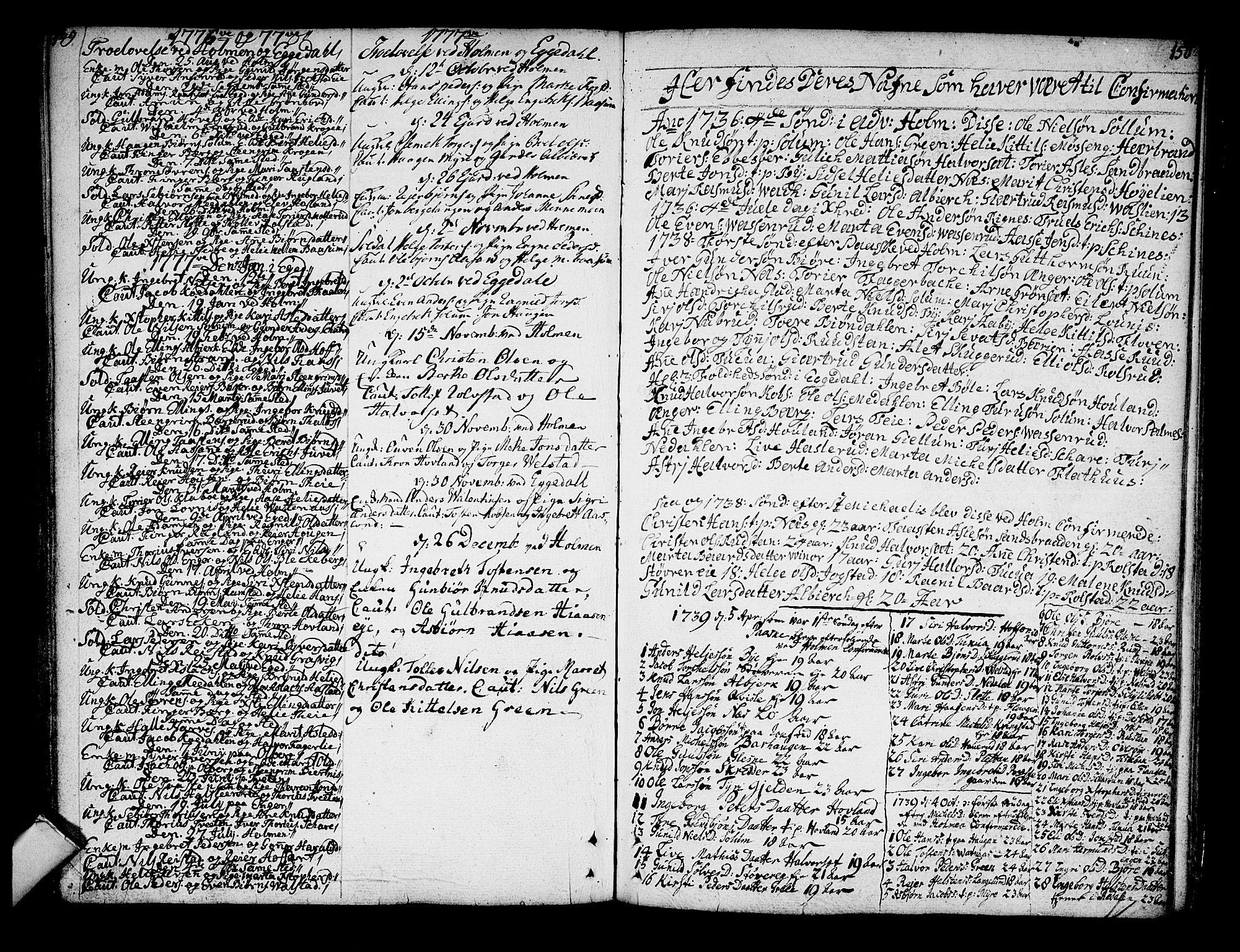 SAKO, Sigdal kirkebøker, F/Fa/L0001: Ministerialbok nr. I 1, 1722-1777, s. 149-150