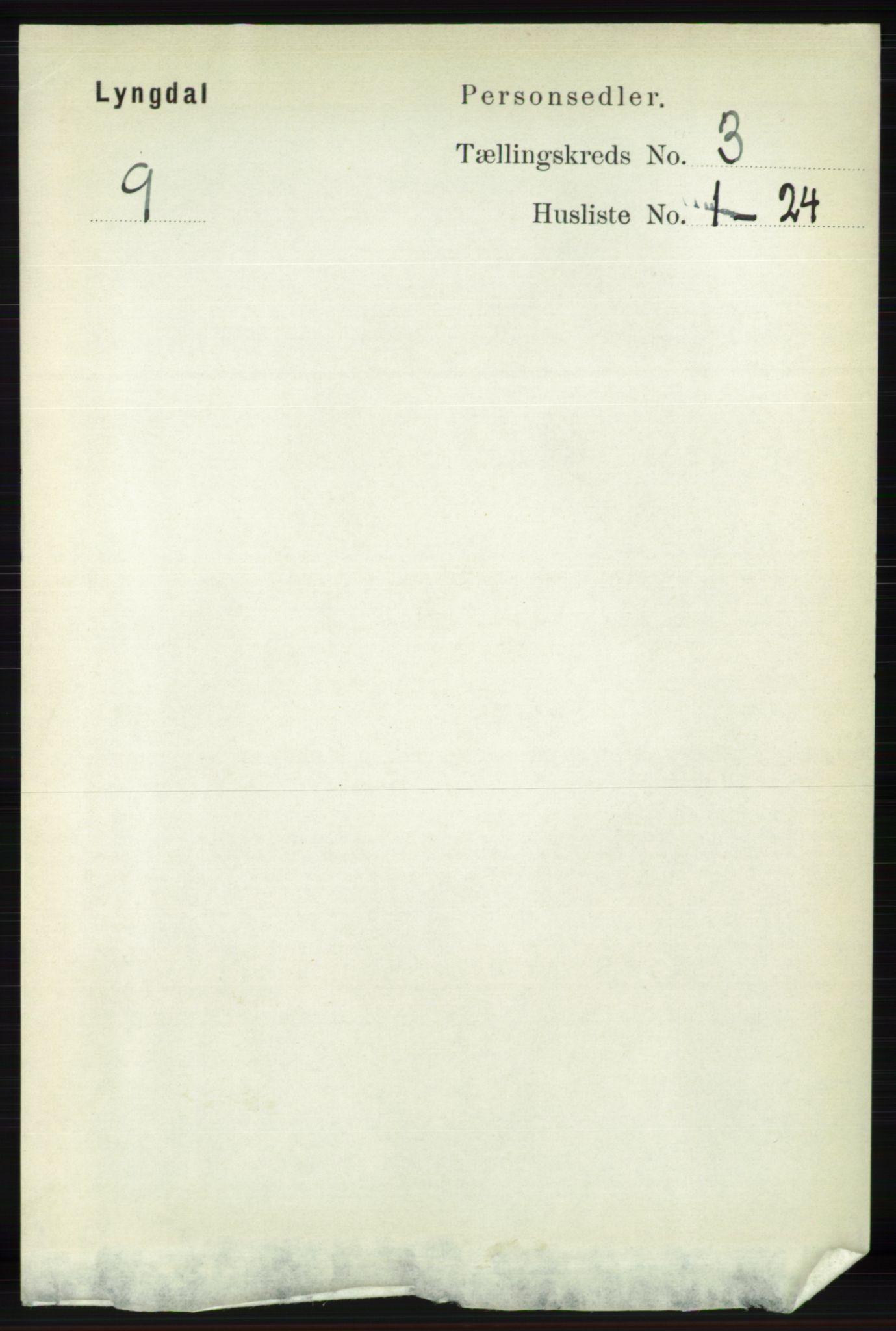 RA, Folketelling 1891 for 1032 Lyngdal herred, 1891, s. 1086