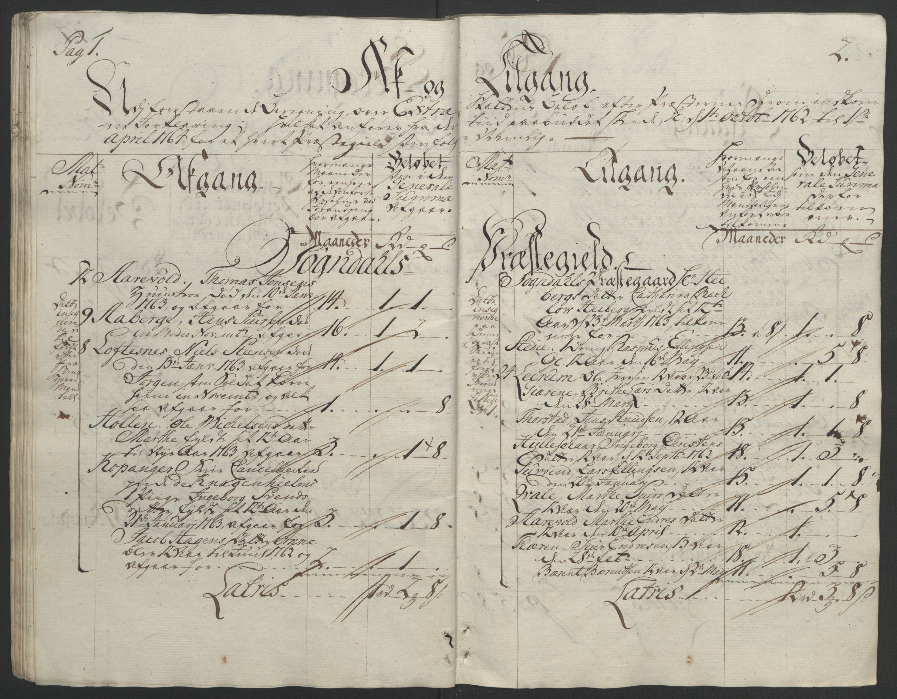 RA, Rentekammeret inntil 1814, Realistisk ordnet avdeling, Ol/L0018: [Gg 10]: Ekstraskatten, 23.09.1762. Sogn, 1762-1772, s. 44