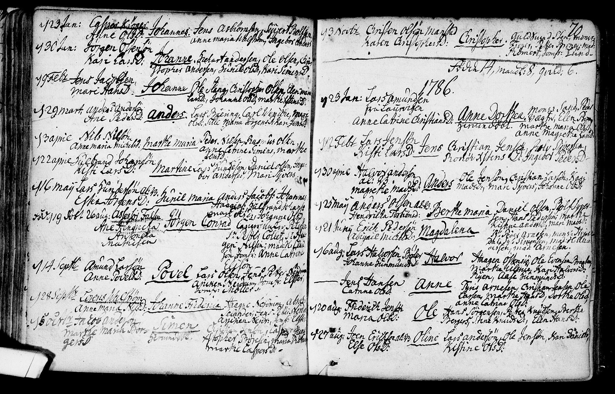 SAO, Gamlebyen prestekontor Kirkebøker, F/Fa/L0001: Ministerialbok nr. 1, 1734-1818, s. 70