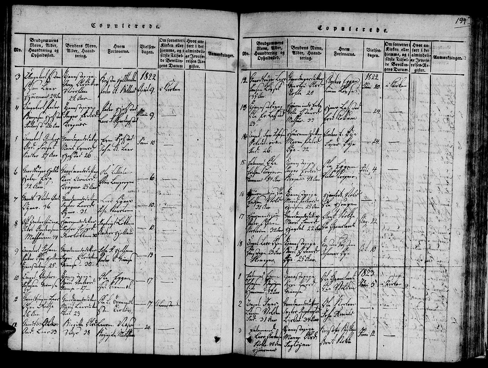 SAT, Ministerialprotokoller, klokkerbøker og fødselsregistre - Sør-Trøndelag, 691/L1065: Ministerialbok nr. 691A03 /1, 1816-1826, s. 194