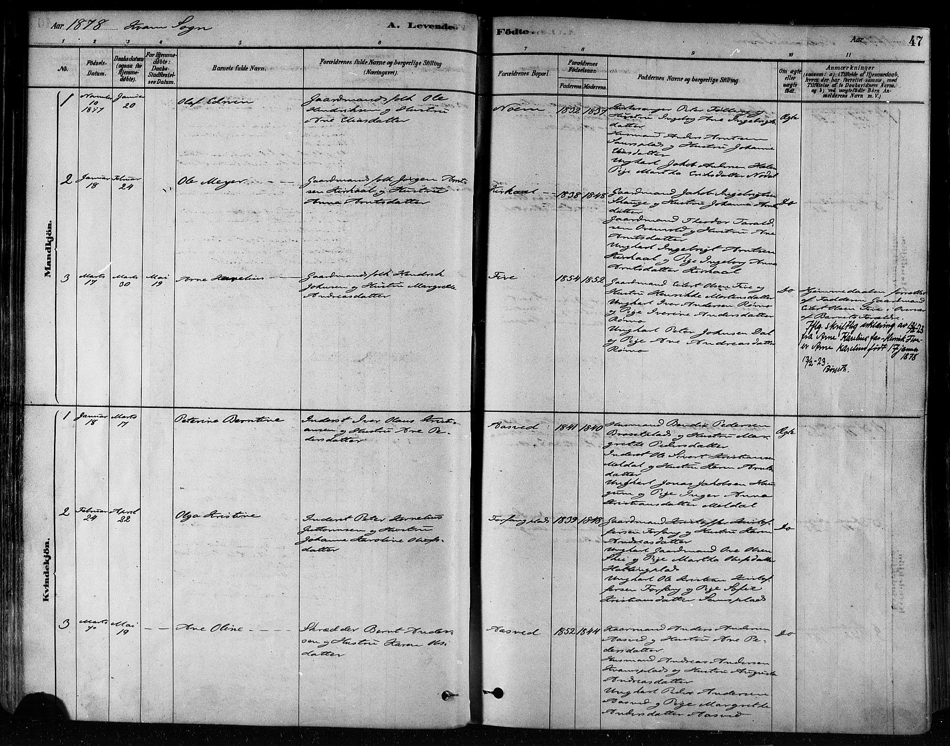 SAT, Ministerialprotokoller, klokkerbøker og fødselsregistre - Nord-Trøndelag, 746/L0449: Ministerialbok nr. 746A07 /2, 1878-1899, s. 47