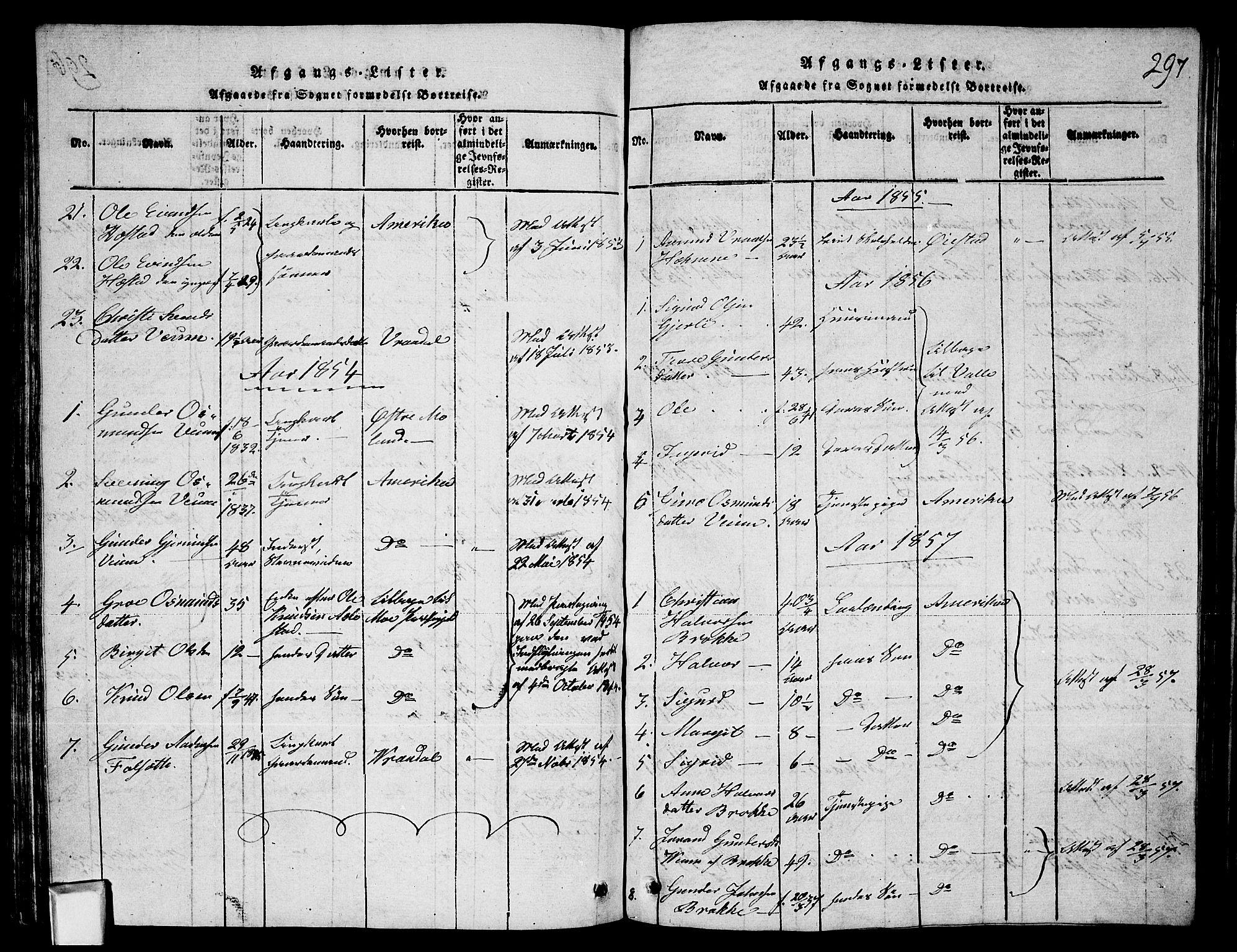 SAKO, Fyresdal kirkebøker, G/Ga/L0003: Klokkerbok nr. I 3, 1815-1863, s. 297