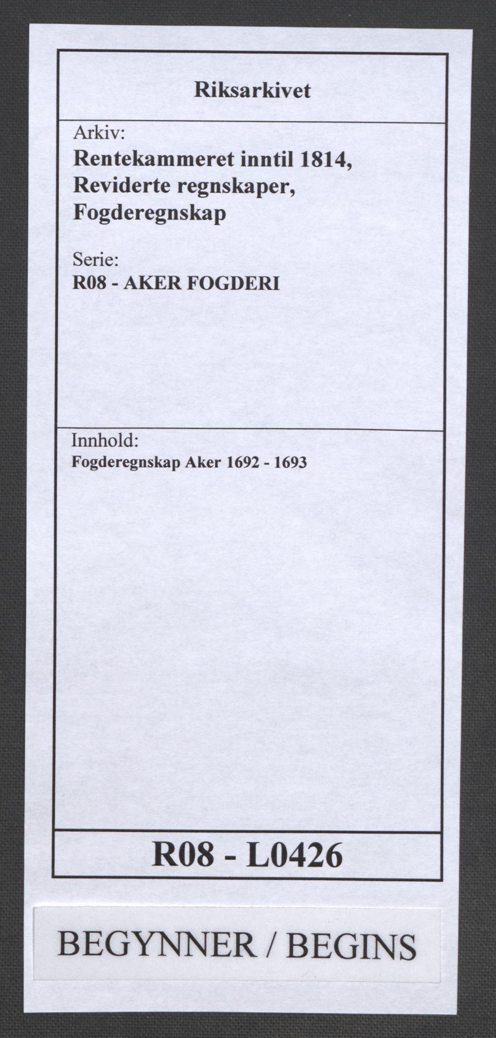 RA, Rentekammeret inntil 1814, Reviderte regnskaper, Fogderegnskap, R08/L0426: Fogderegnskap Aker, 1692-1693, s. 1