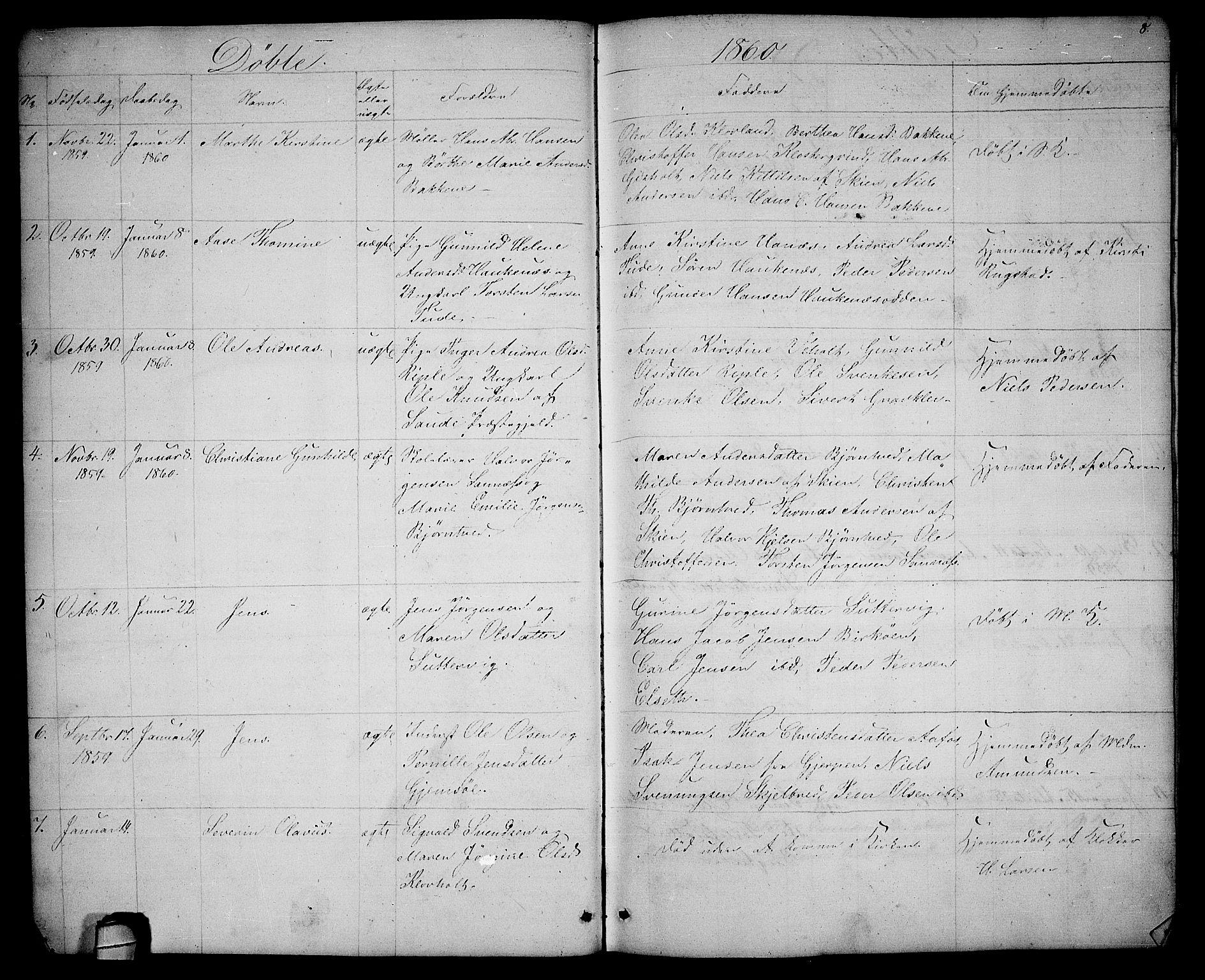 SAKO, Solum kirkebøker, G/Ga/L0004: Klokkerbok nr. I 4, 1859-1876, s. 8