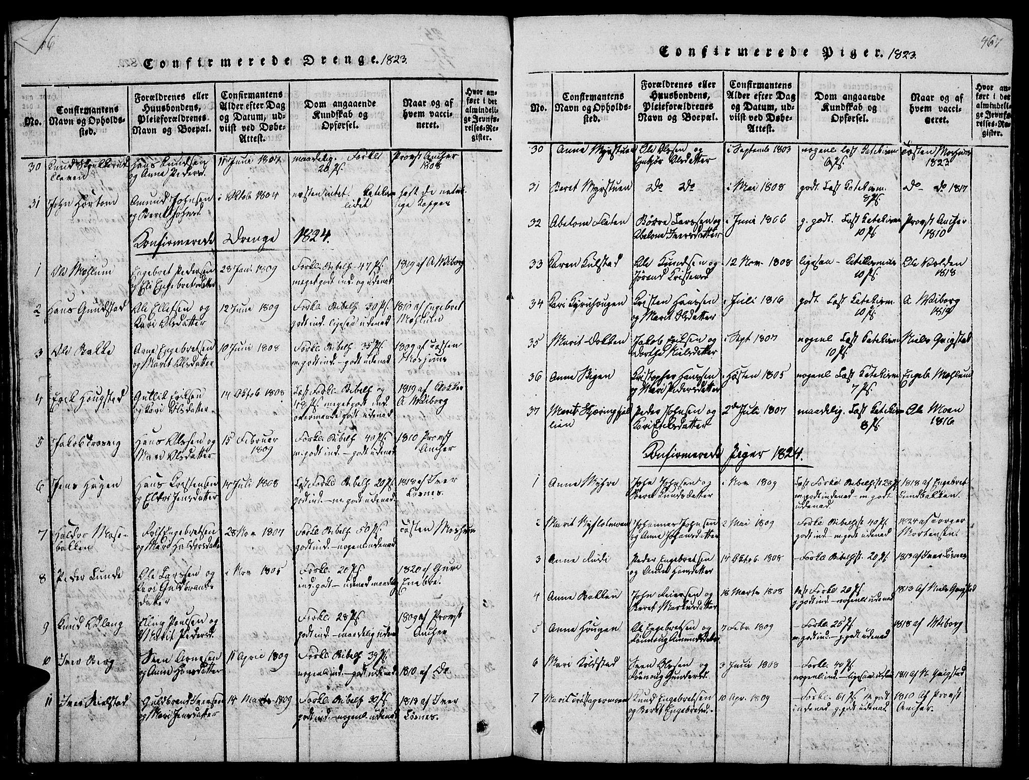 SAH, Ringebu prestekontor, Klokkerbok nr. 1, 1821-1839, s. 466-467