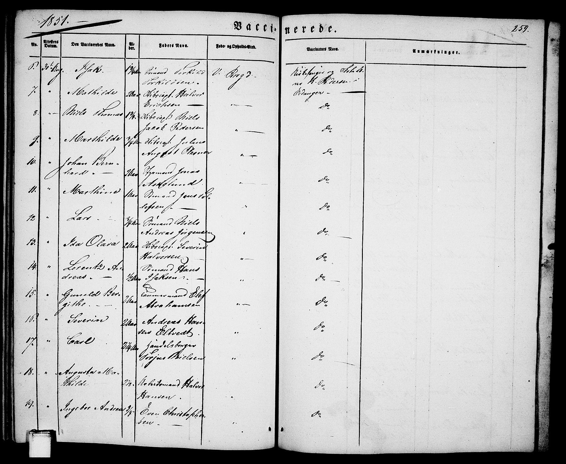 SAKO, Porsgrunn kirkebøker , G/Ga/L0002: Klokkerbok nr. I 2, 1847-1877, s. 259