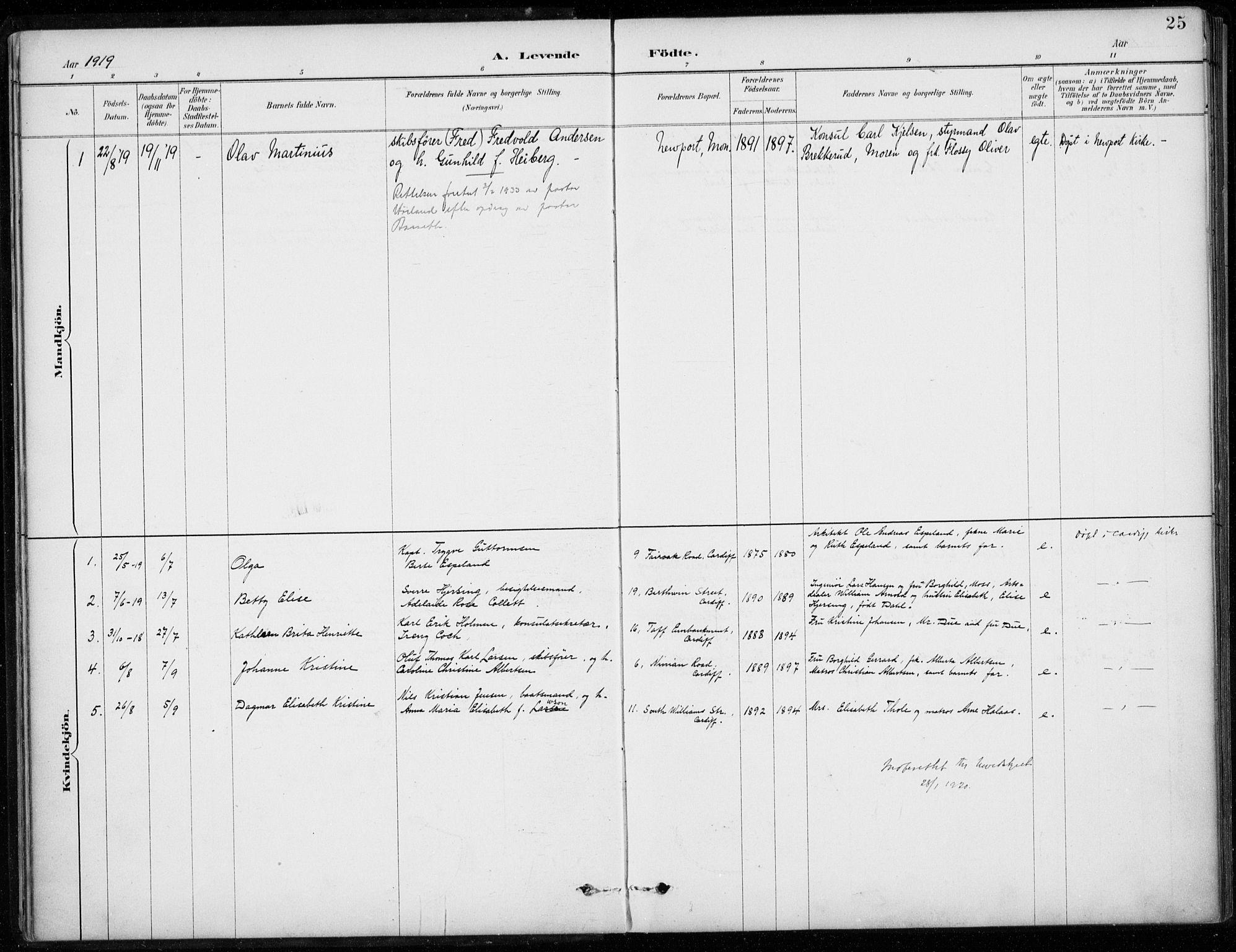 SAB, Den Norske Sjømannsmisjon i utlandet*, Ministerialbok nr. A 2, 1887-1932, s. 25