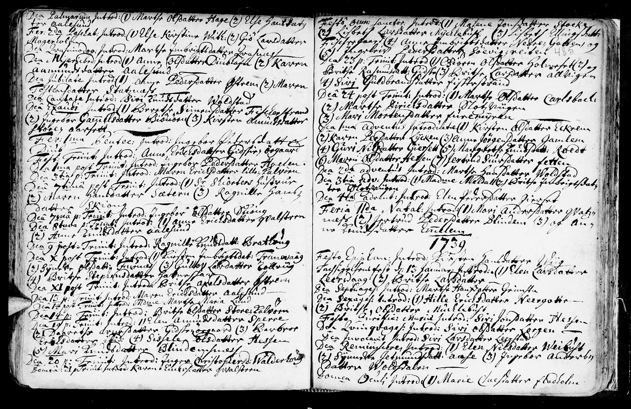 SAT, Ministerialprotokoller, klokkerbøker og fødselsregistre - Møre og Romsdal, 528/L0390: Ministerialbok nr. 528A01, 1698-1739, s. 484-485