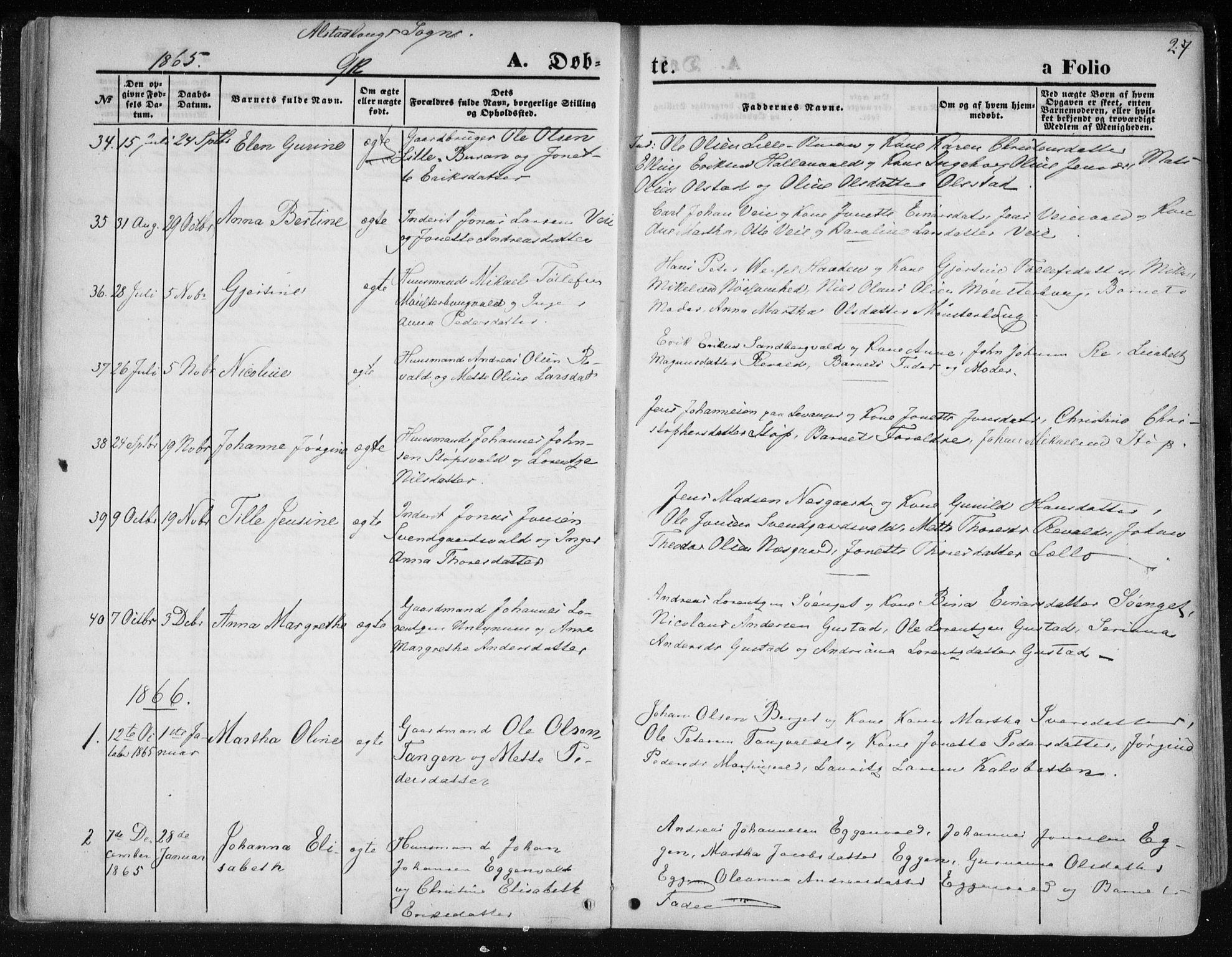 SAT, Ministerialprotokoller, klokkerbøker og fødselsregistre - Nord-Trøndelag, 717/L0157: Ministerialbok nr. 717A08 /1, 1863-1877, s. 27