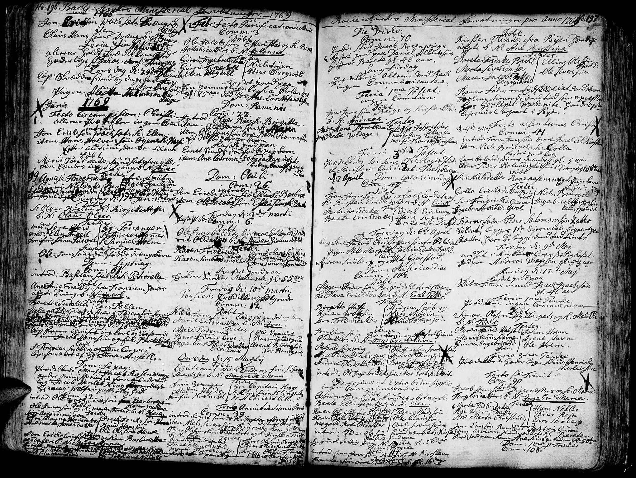 SAT, Ministerialprotokoller, klokkerbøker og fødselsregistre - Sør-Trøndelag, 606/L0276: Ministerialbok nr. 606A01 /2, 1727-1779, s. 196-197