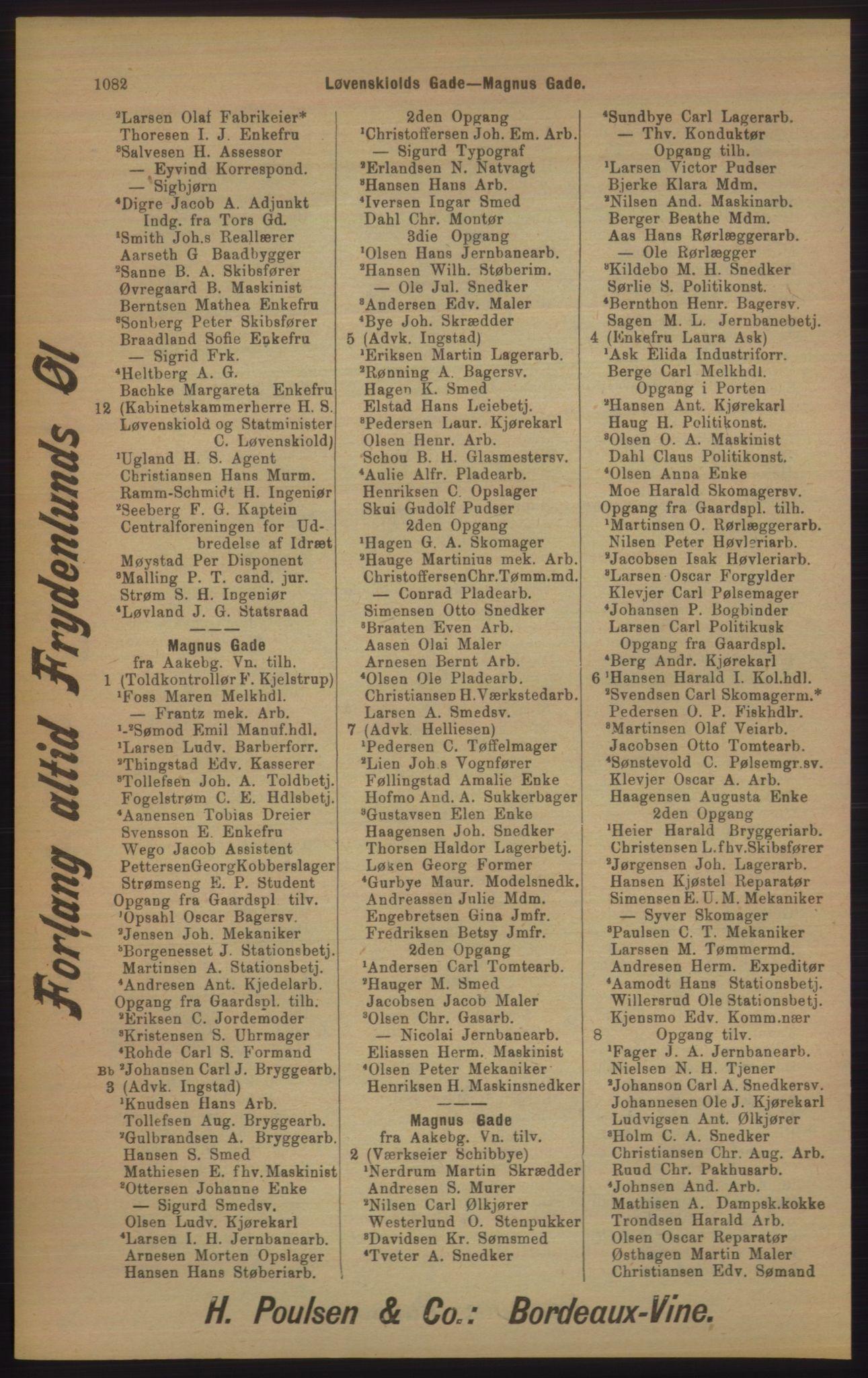 RA, Kristiania adressebok (publikasjon)*, 1905, s. 1082