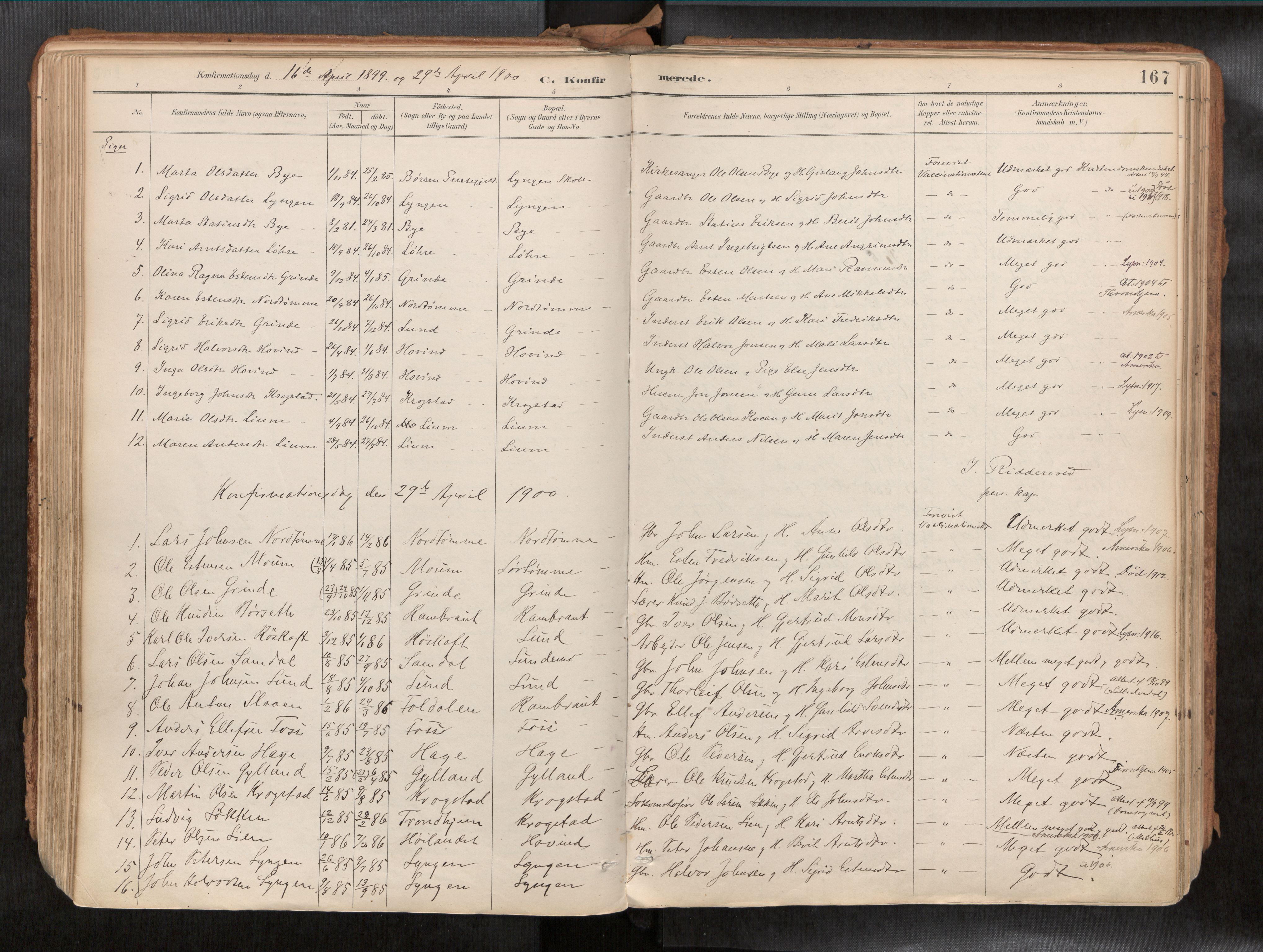 SAT, Ministerialprotokoller, klokkerbøker og fødselsregistre - Sør-Trøndelag, 692/L1105b: Ministerialbok nr. 692A06, 1891-1934, s. 167