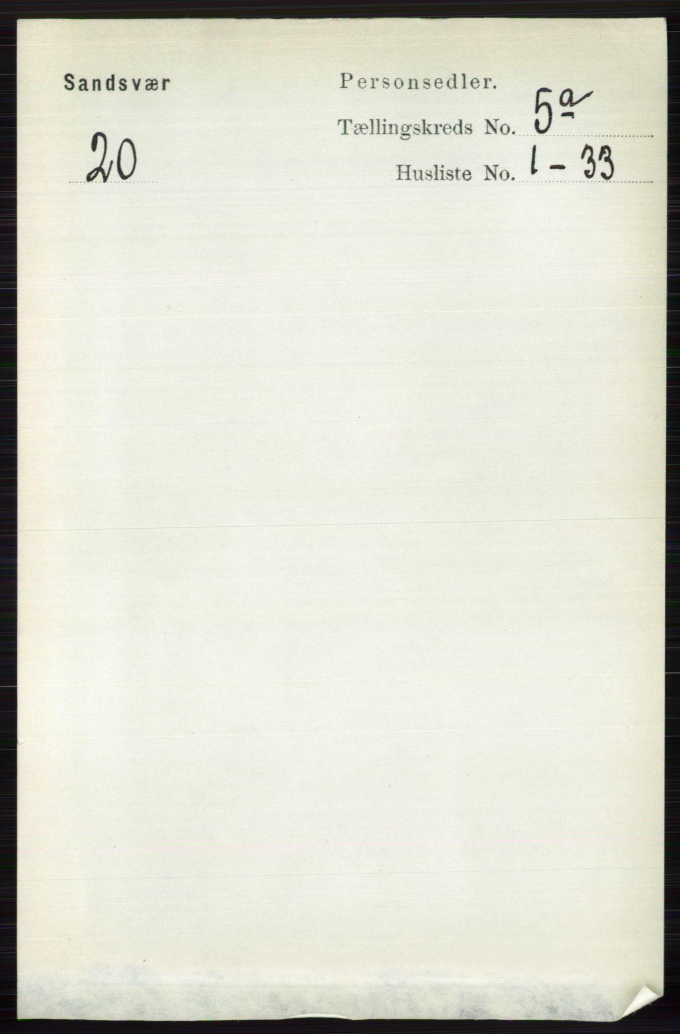 RA, Folketelling 1891 for 0629 Sandsvær herred, 1891, s. 2476