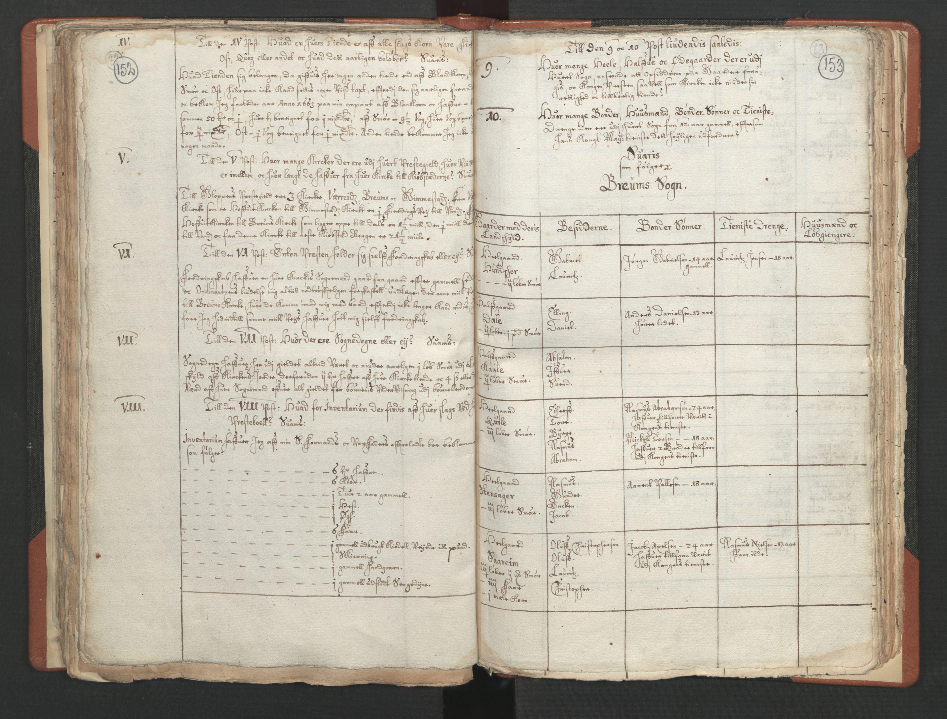 RA, Sogneprestenes manntall 1664-1666, nr. 25: Nordfjord prosti, 1664-1666, s. 152-153