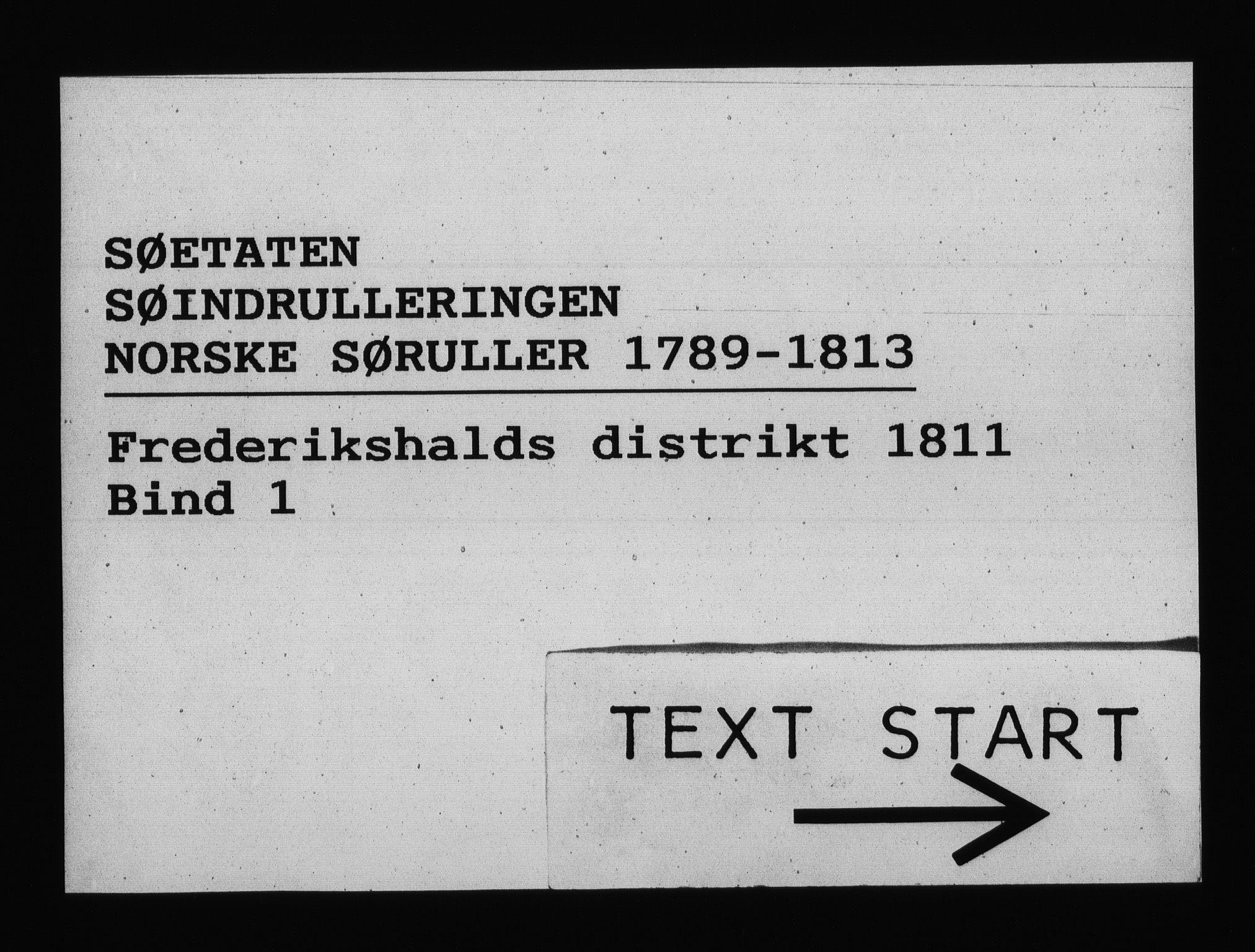 RA, Sjøetaten, F/L0204: Fredrikshalds distrikt, bind 1, 1811
