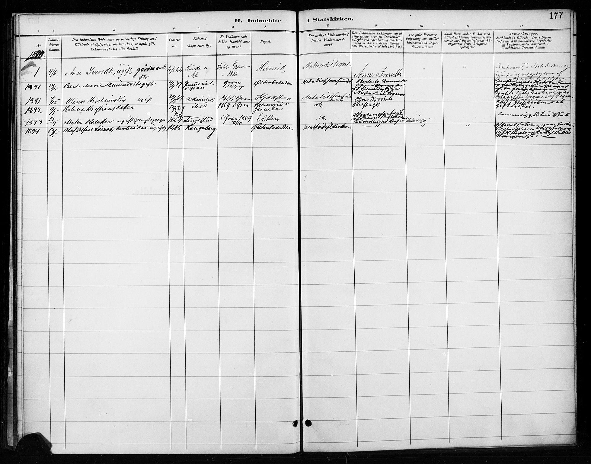 SAH, Gran prestekontor, Ministerialbok nr. 18, 1889-1899, s. 177