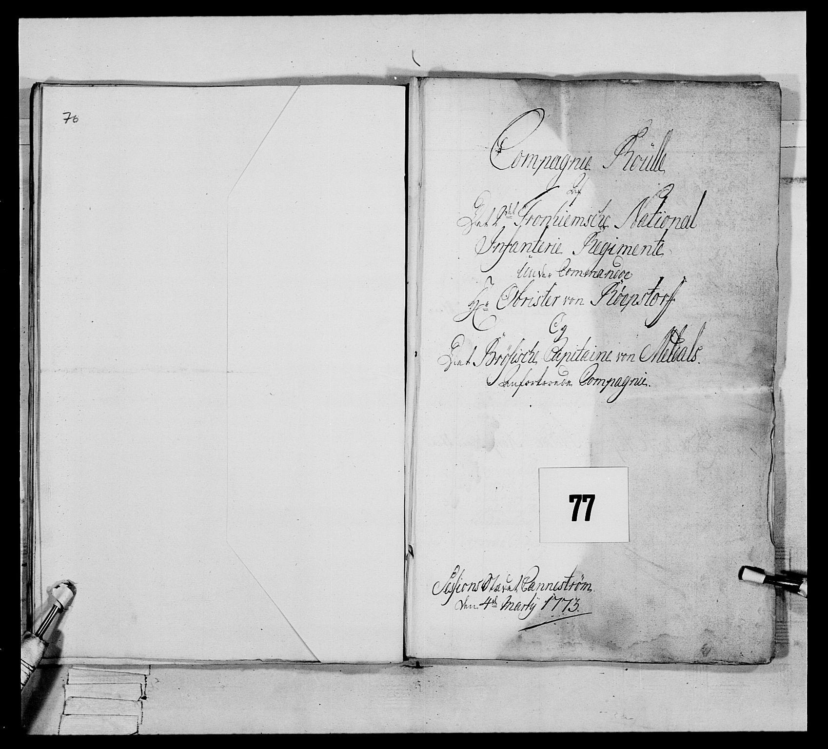 RA, Generalitets- og kommissariatskollegiet, Det kongelige norske kommissariatskollegium, E/Eh/L0076: 2. Trondheimske nasjonale infanteriregiment, 1766-1773, s. 371